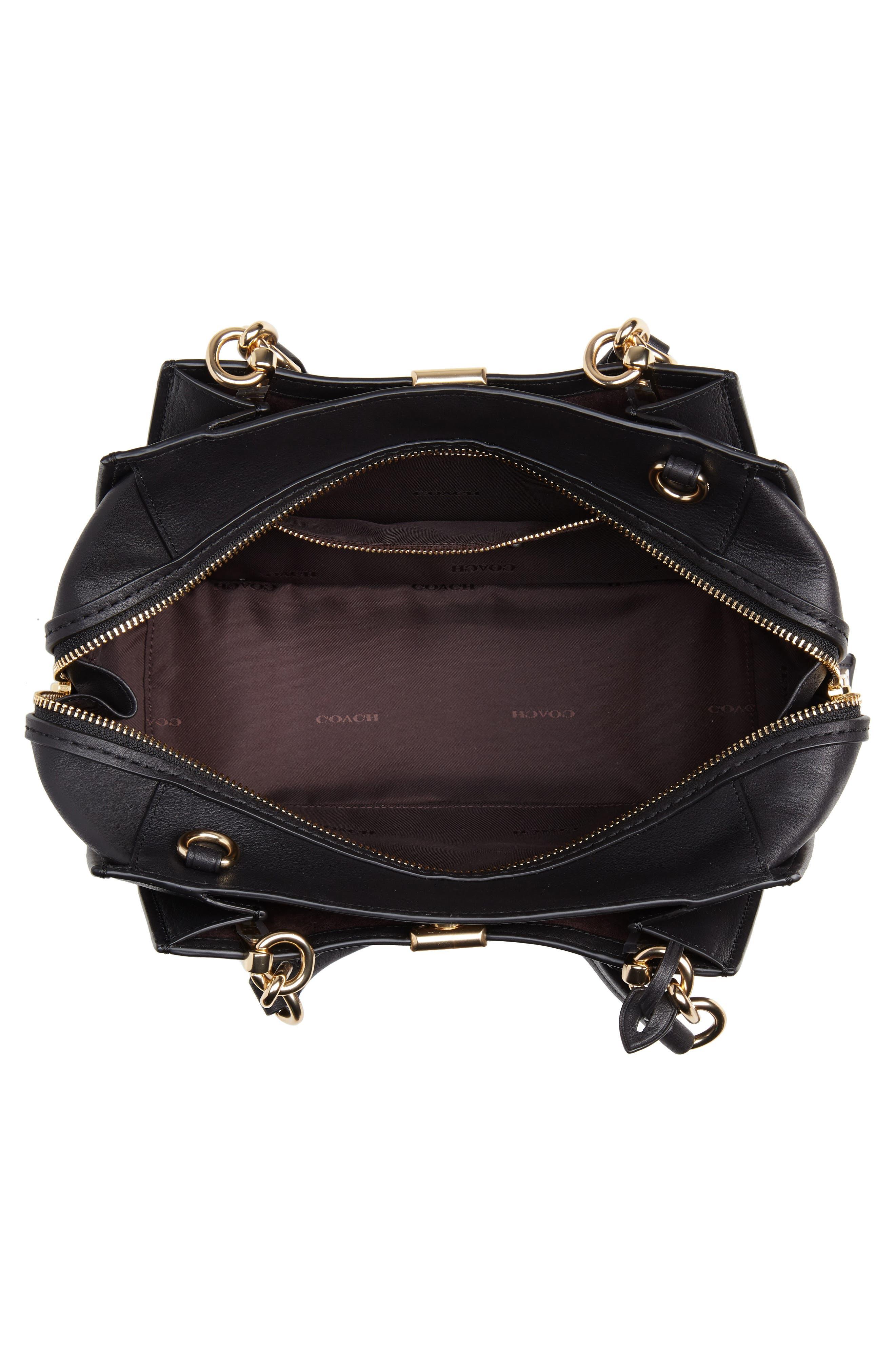 COACH,                             Dreamer Leather Bag,                             Alternate thumbnail 4, color,                             BLACK
