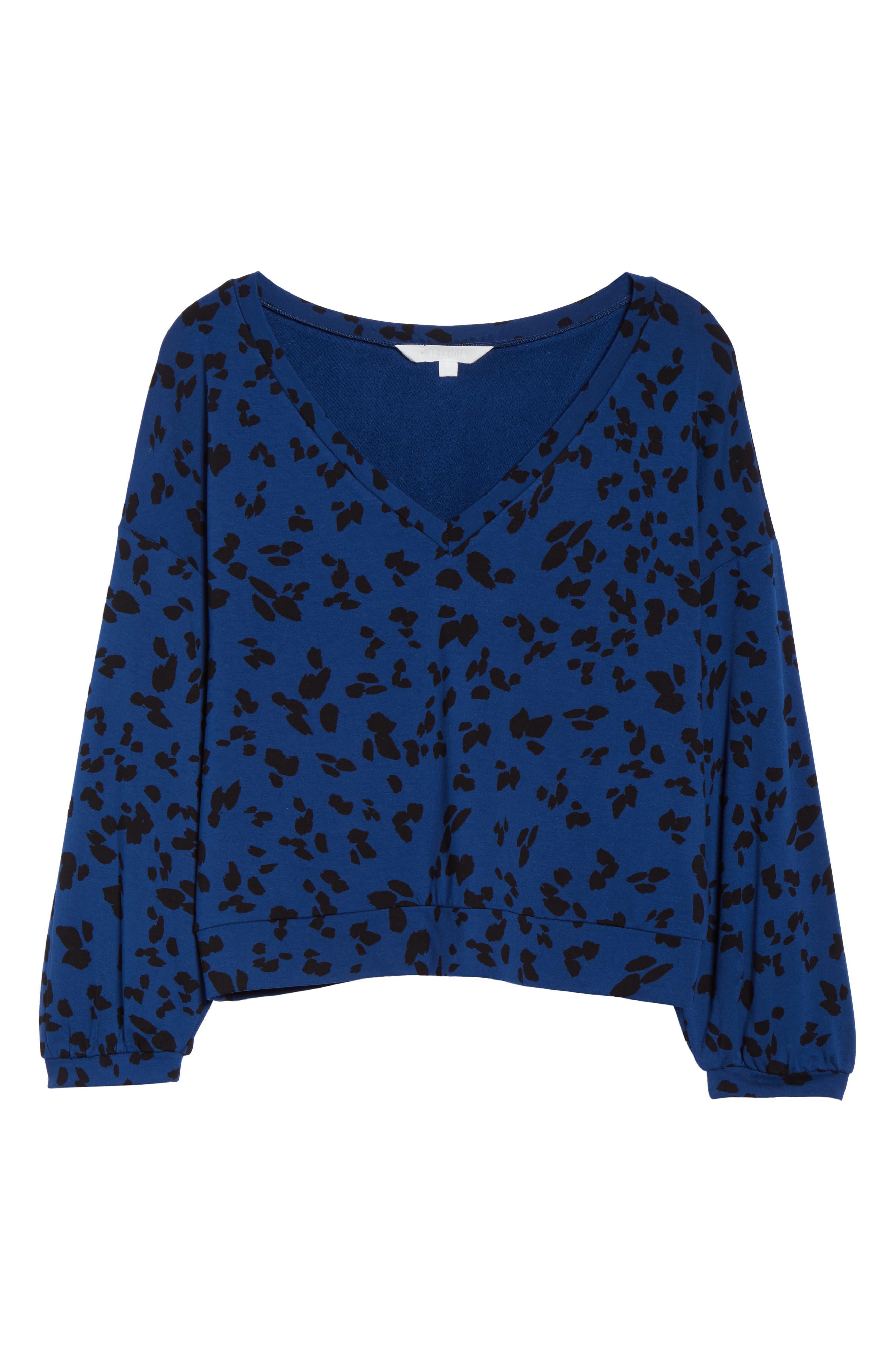 Sensing a Pattern Leopard Print Pajama Top,                             Alternate thumbnail 6, color,                             MARINE