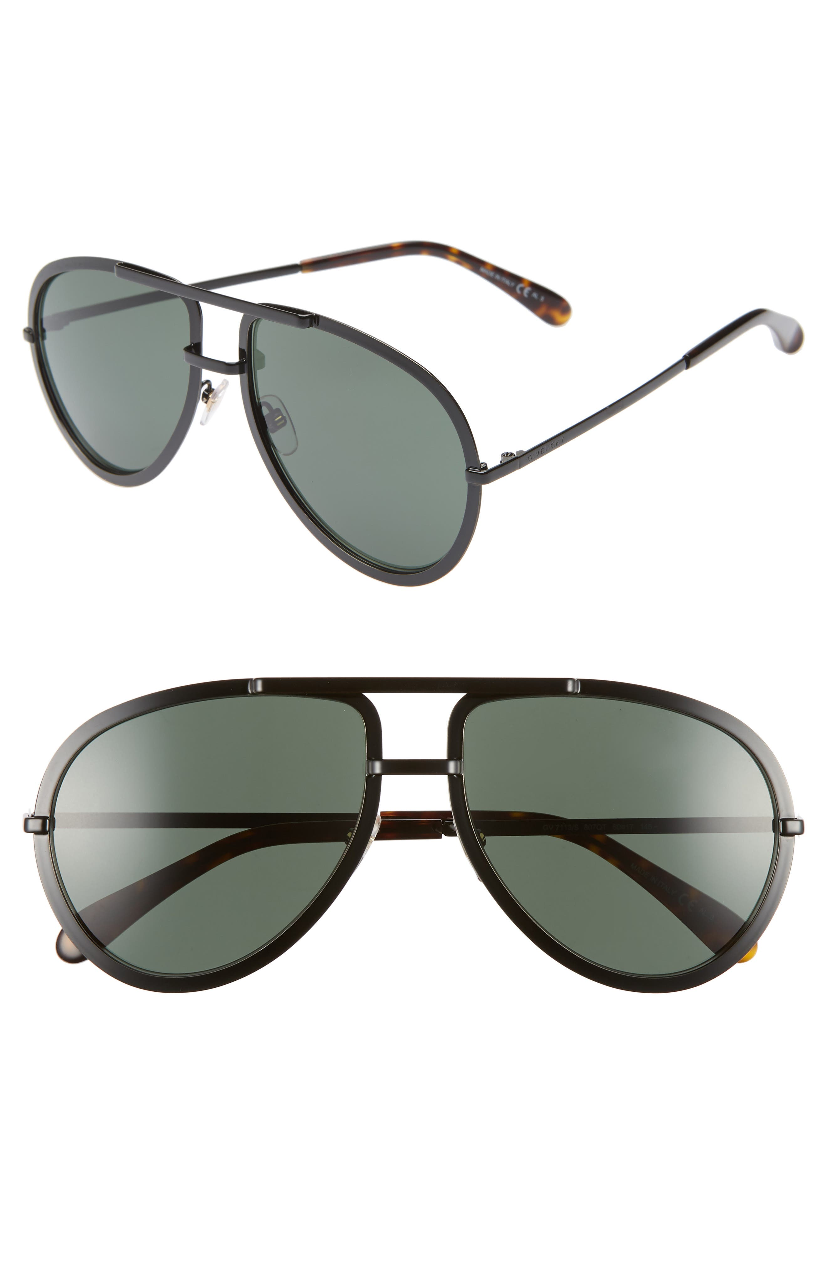 Givenchy 60Mm Aviator Sunglasses - Black
