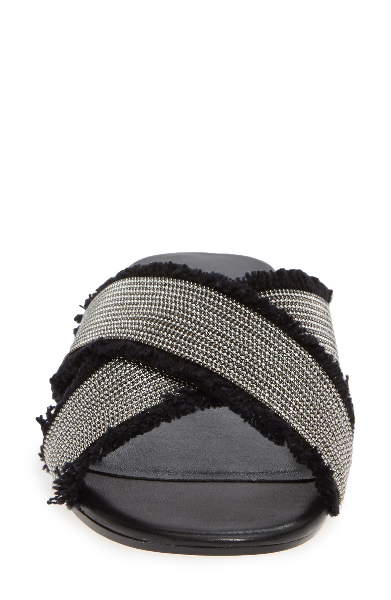 Baret Slide Sandal,                             Alternate thumbnail 4, color,                             BLACK FABRIC