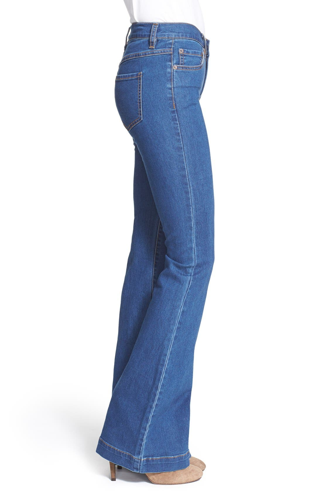 Stretch Mid Rise Flare Jeans,                             Alternate thumbnail 5, color,                             400