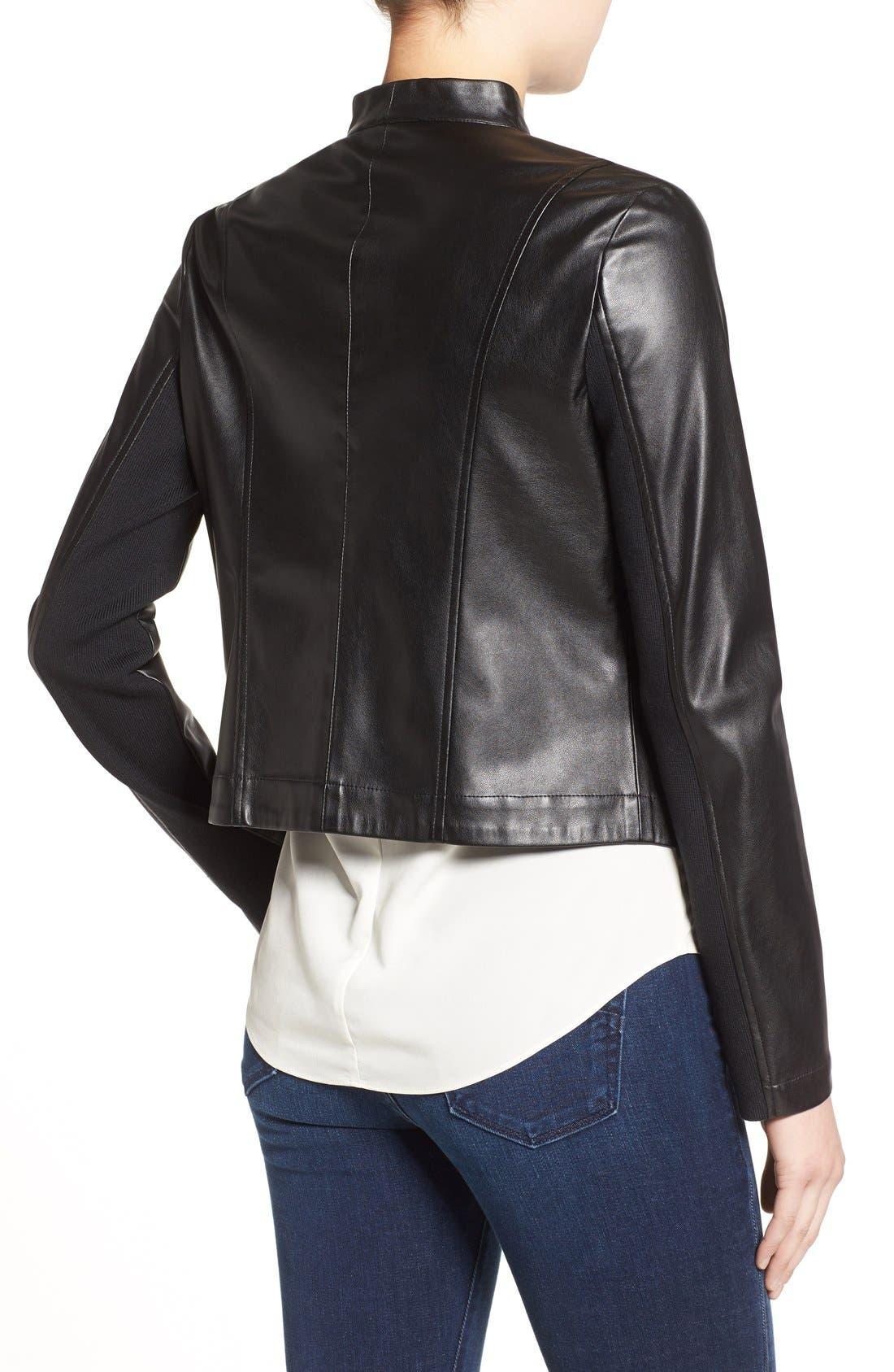 'Peppin' Drape Front Faux Leather Jacket,                             Alternate thumbnail 11, color,