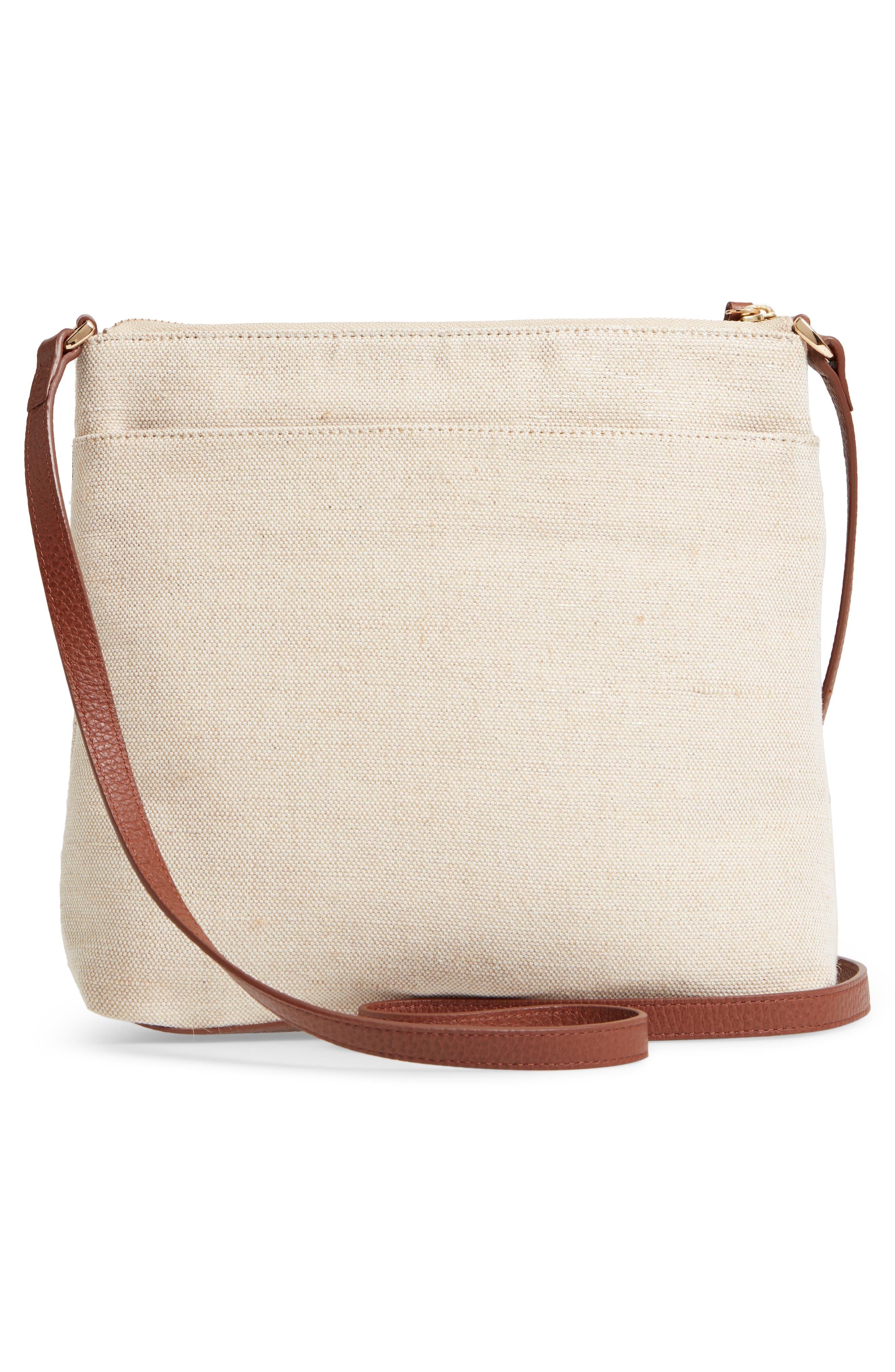 Kaison Linen & Leather Crossbody Bag,                             Alternate thumbnail 3, color,                             NATURAL/ GOLD