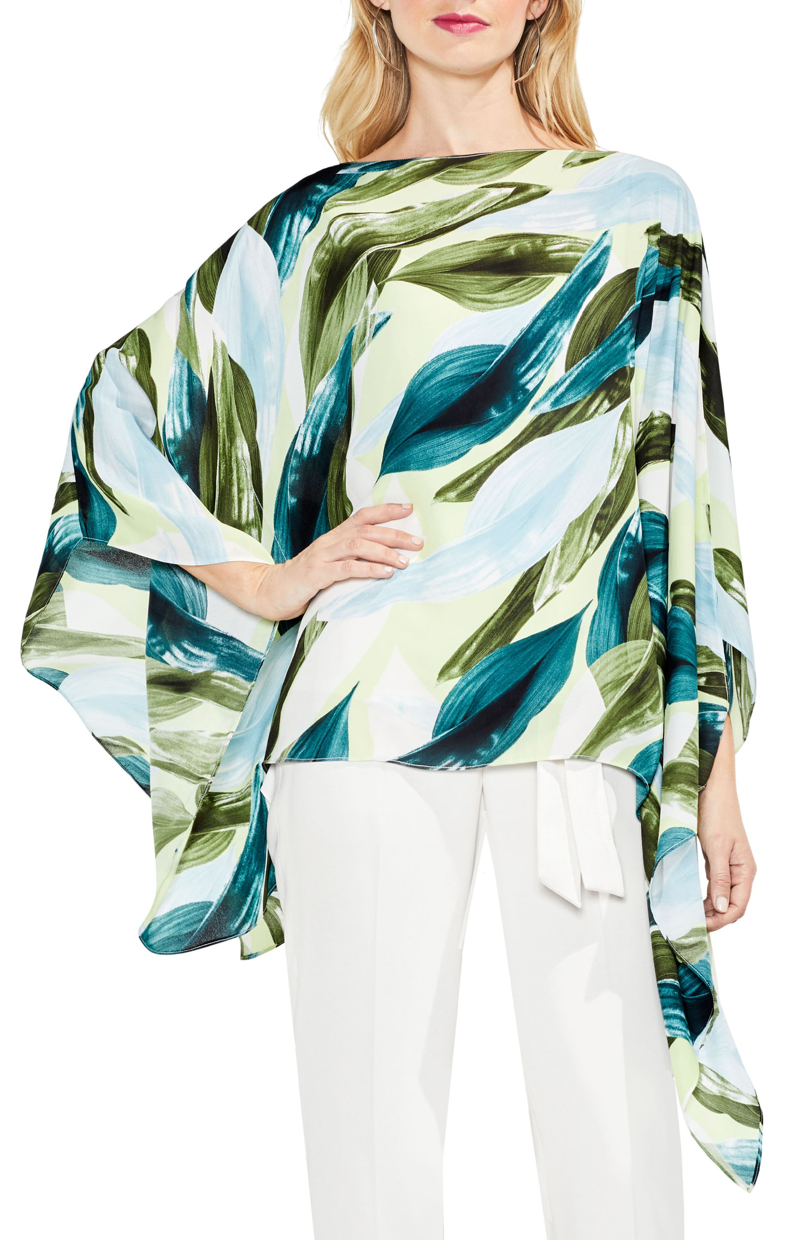 Breezy Leaves Poncho,                         Main,                         color, 108