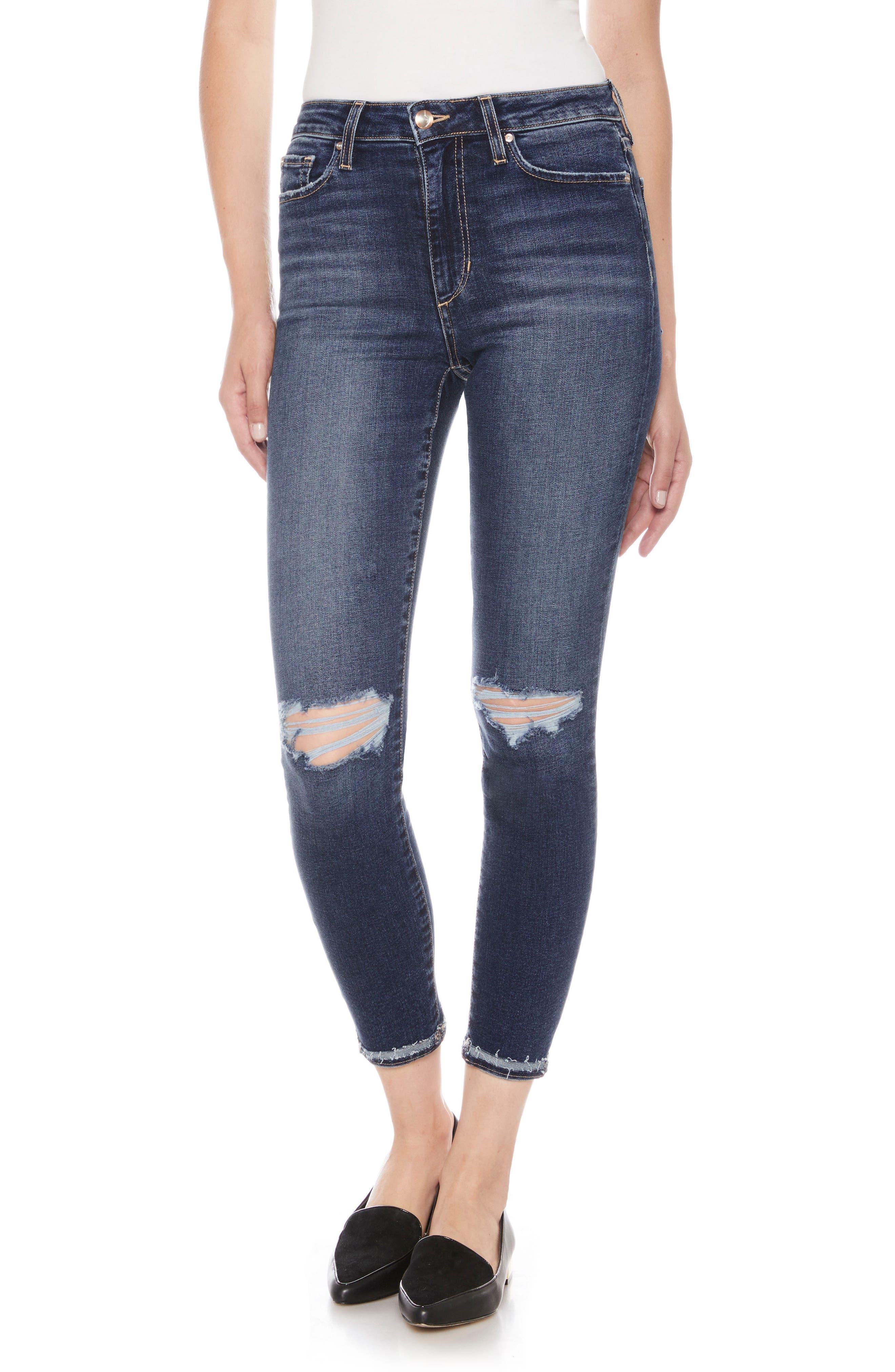 Flawless - The Charlie High Waist Ankle Skinny Jeans,                             Main thumbnail 1, color,                             MANDALA