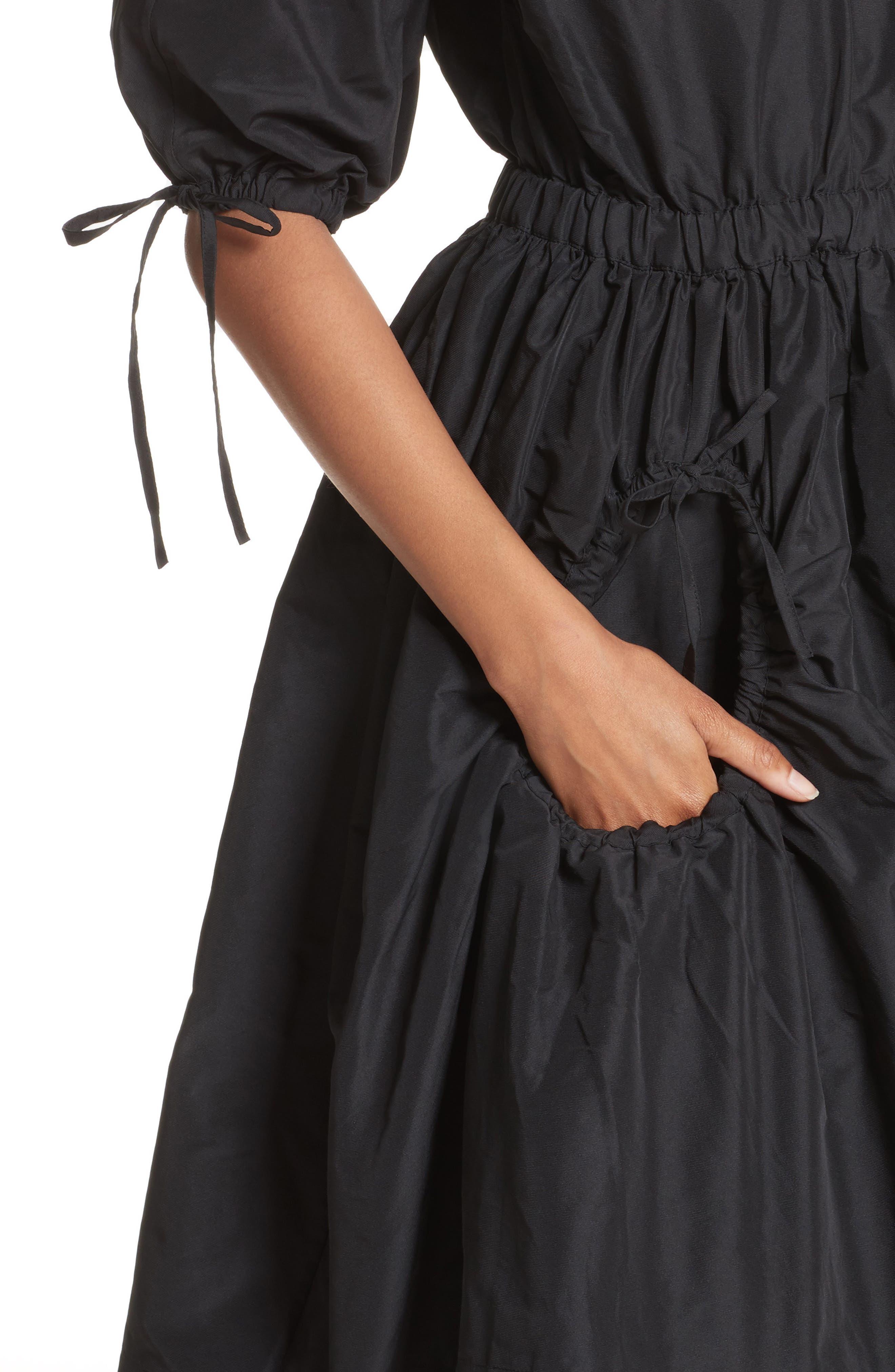 Cold Shoulder Drawstring Dress,                             Alternate thumbnail 4, color,                             001