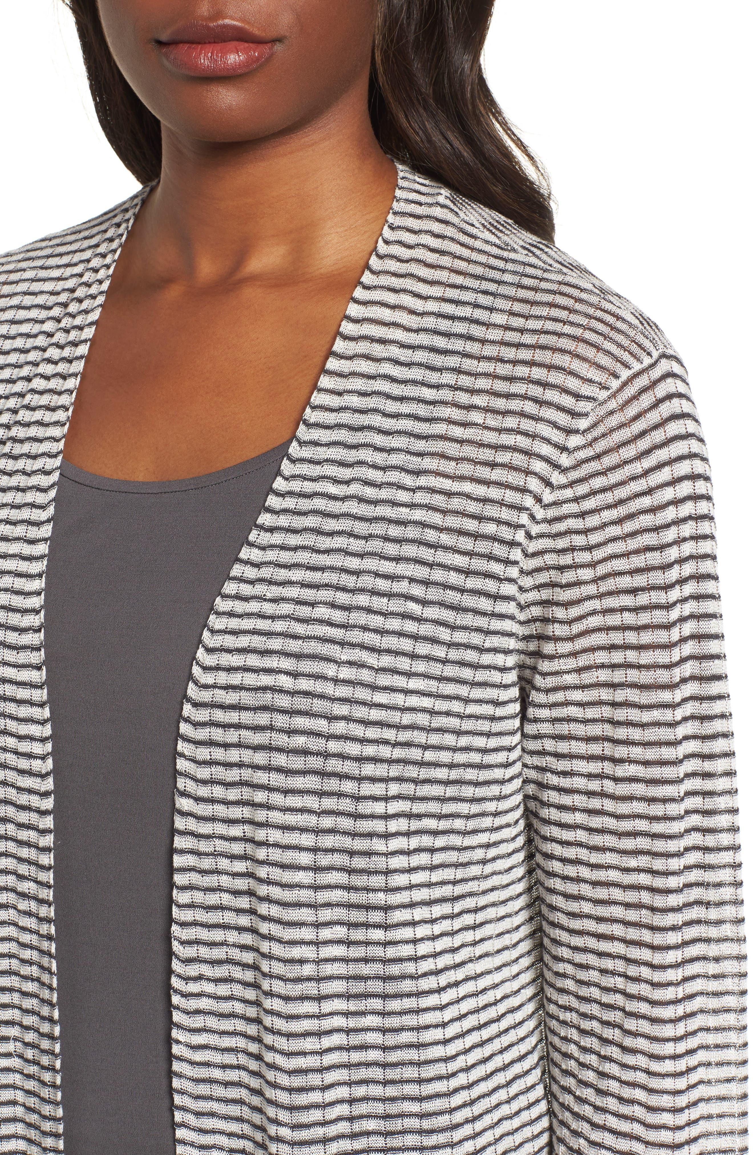 Stripe Organic Linen Blend Cardigan,                             Alternate thumbnail 4, color,
