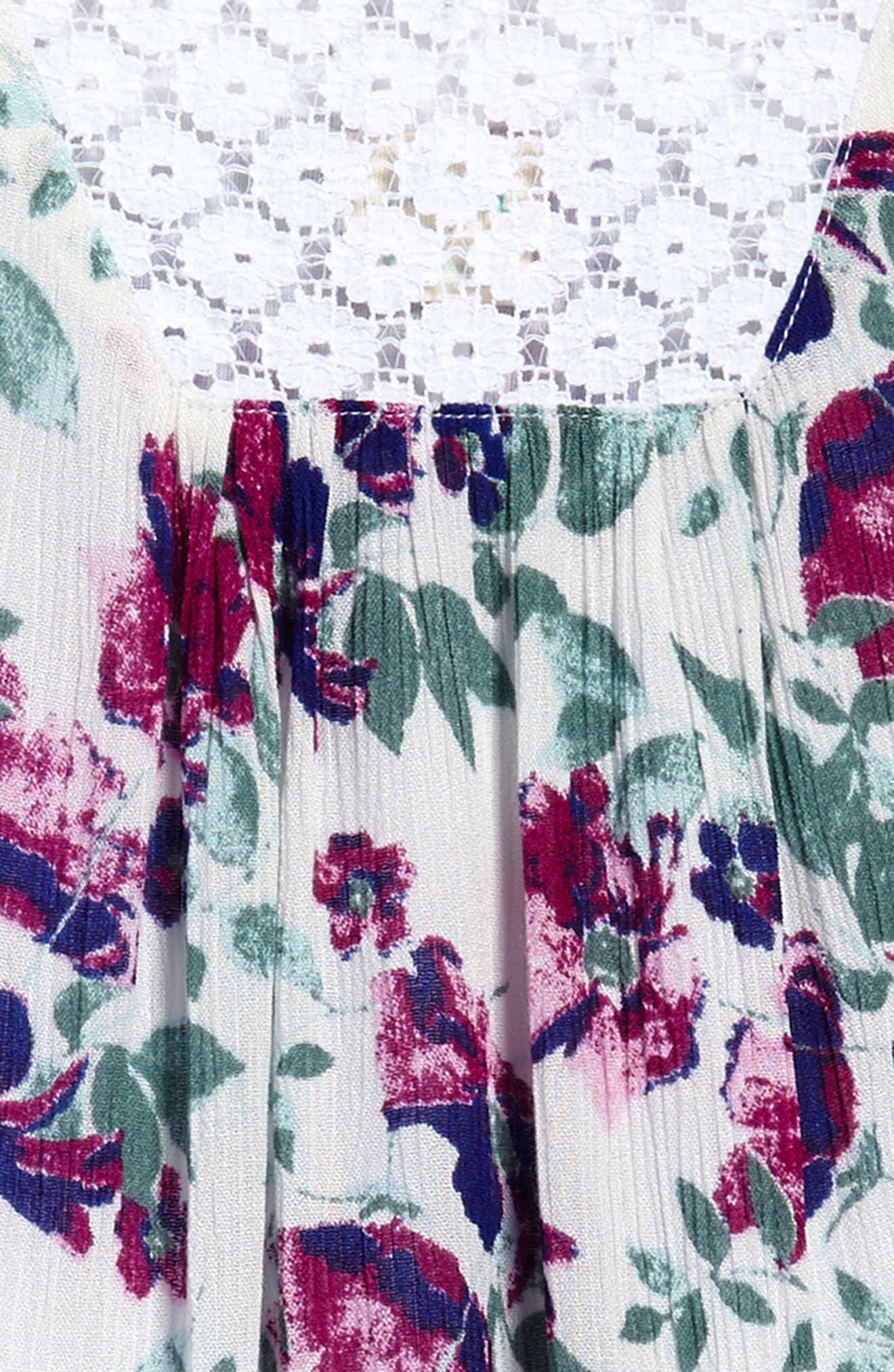 Lia Floral Woven Dress,                             Alternate thumbnail 3, color,                             100