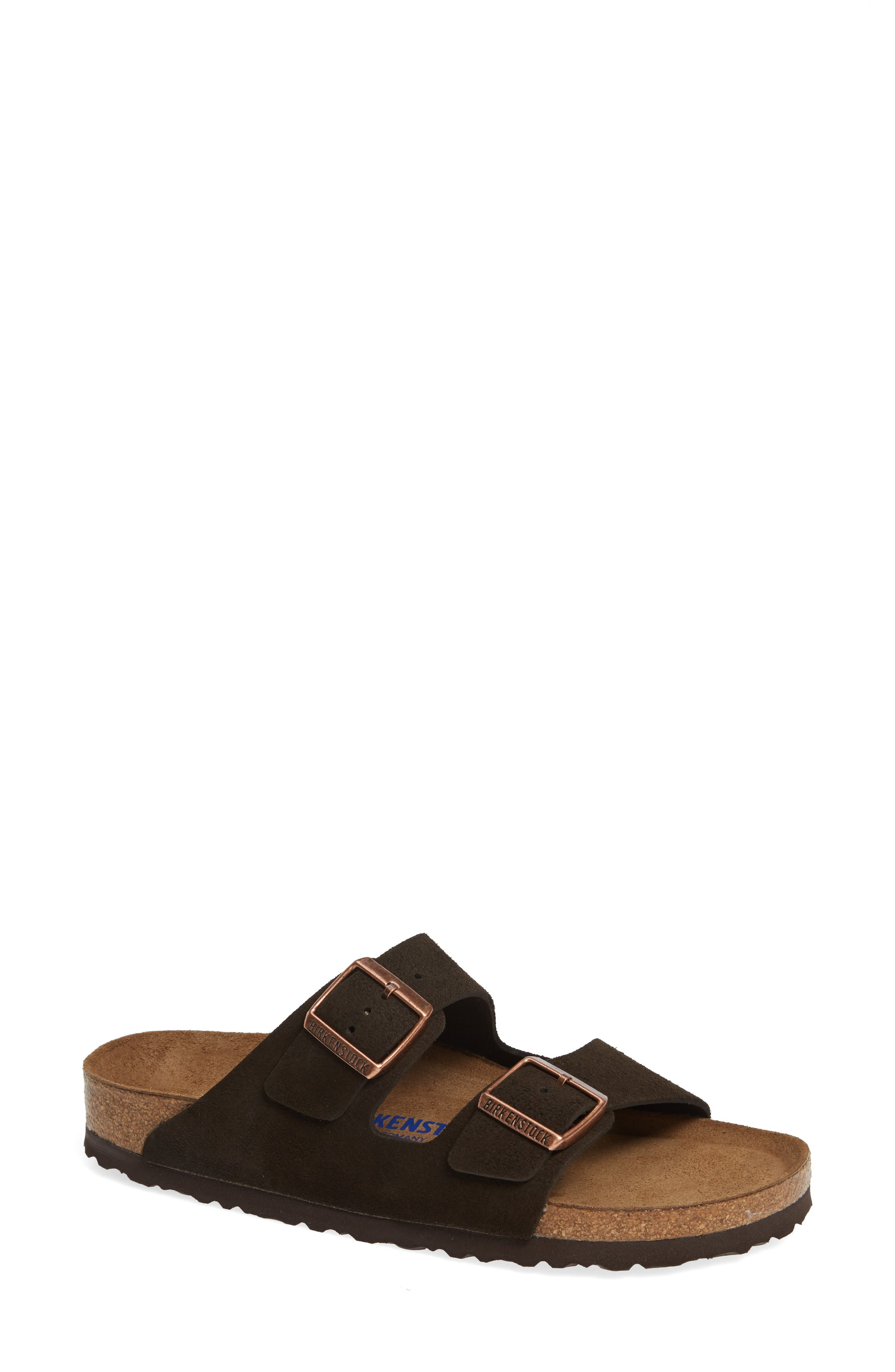 'Arizona' Soft Footbed Suede Sandal,                             Main thumbnail 1, color,                             MOCHA SUEDE