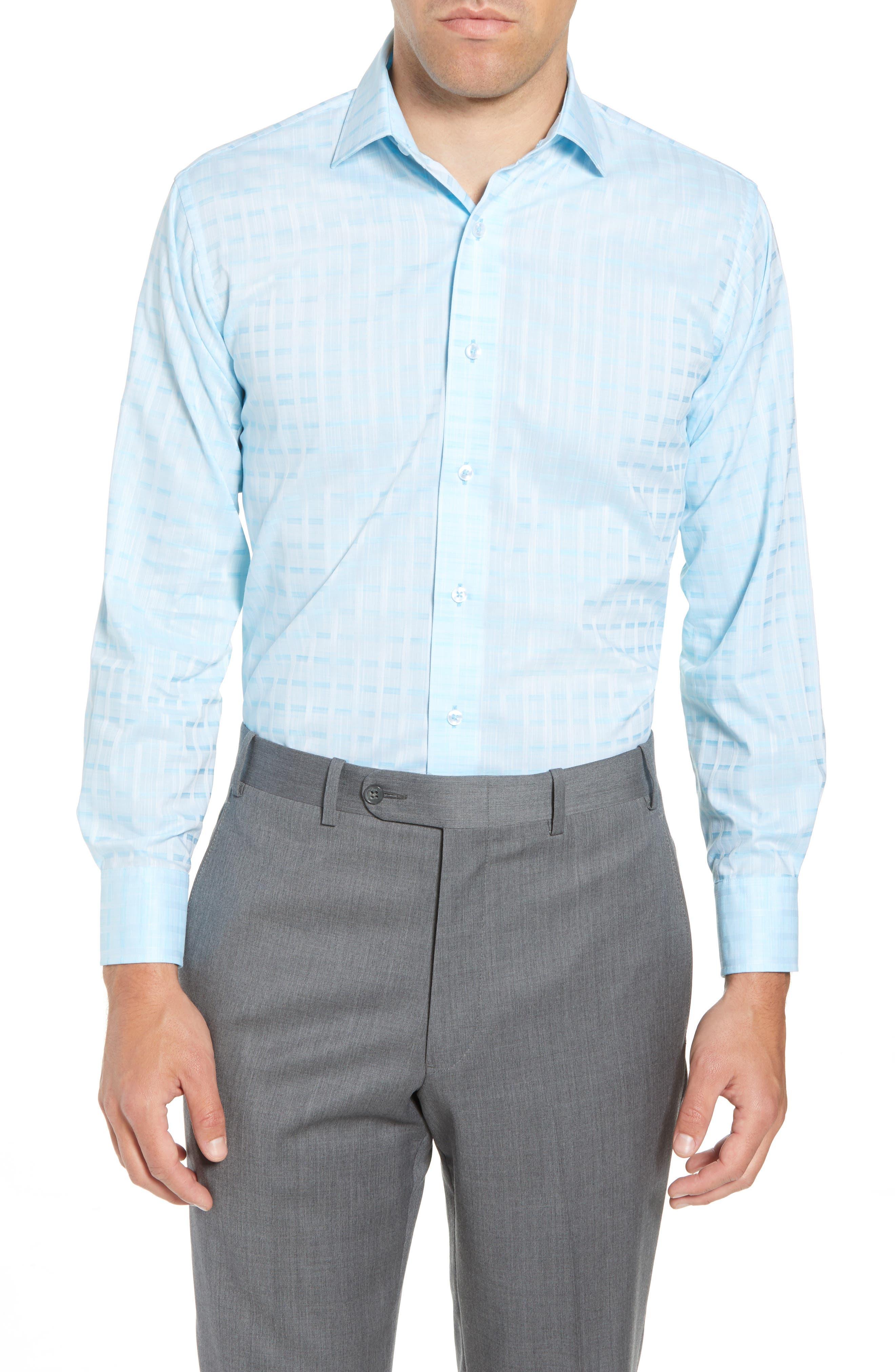 Trim Fit Check Dress Shirt,                         Main,                         color, AQUA