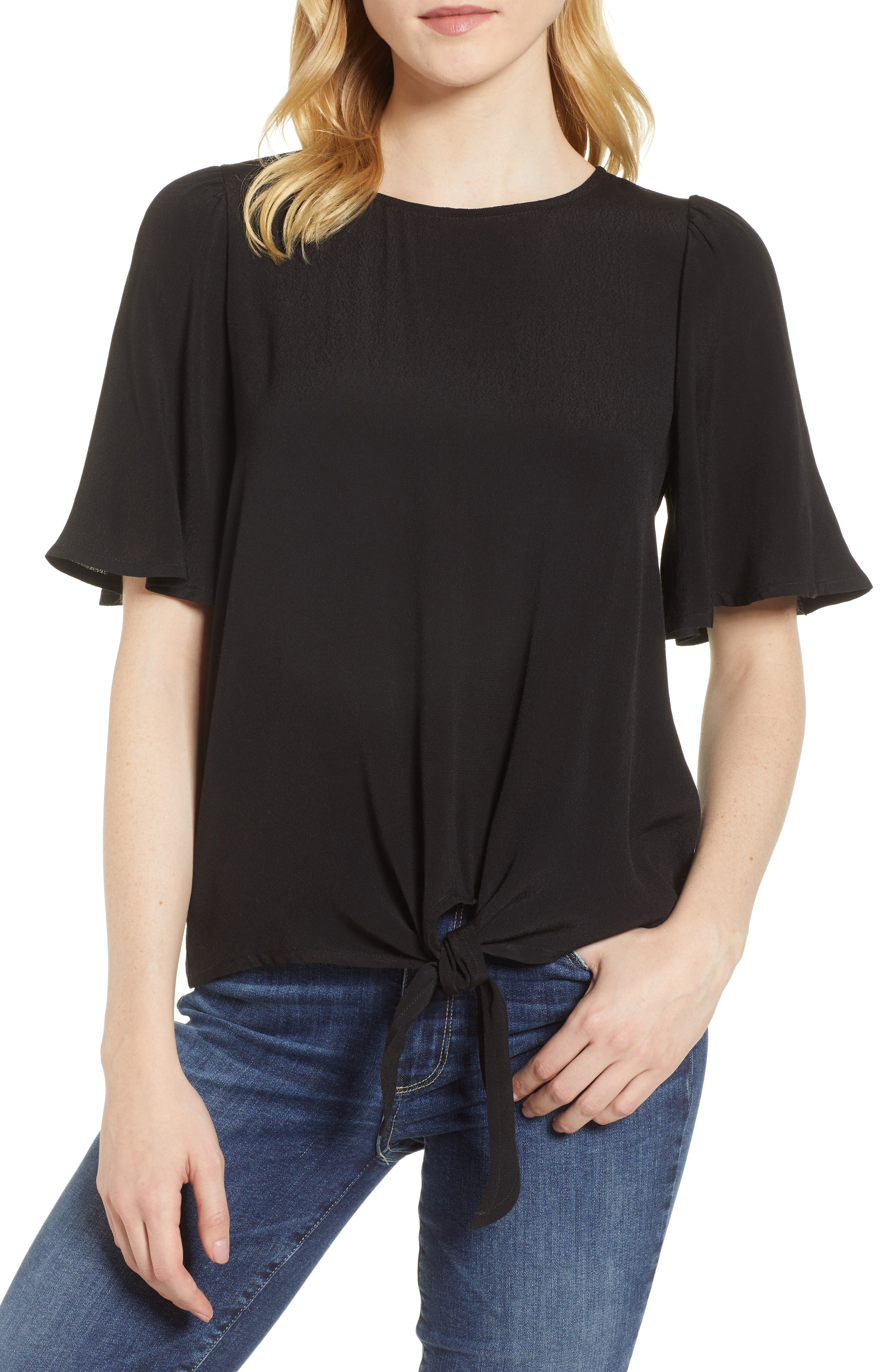 Ruffle Tie Front Top,                             Main thumbnail 1, color,