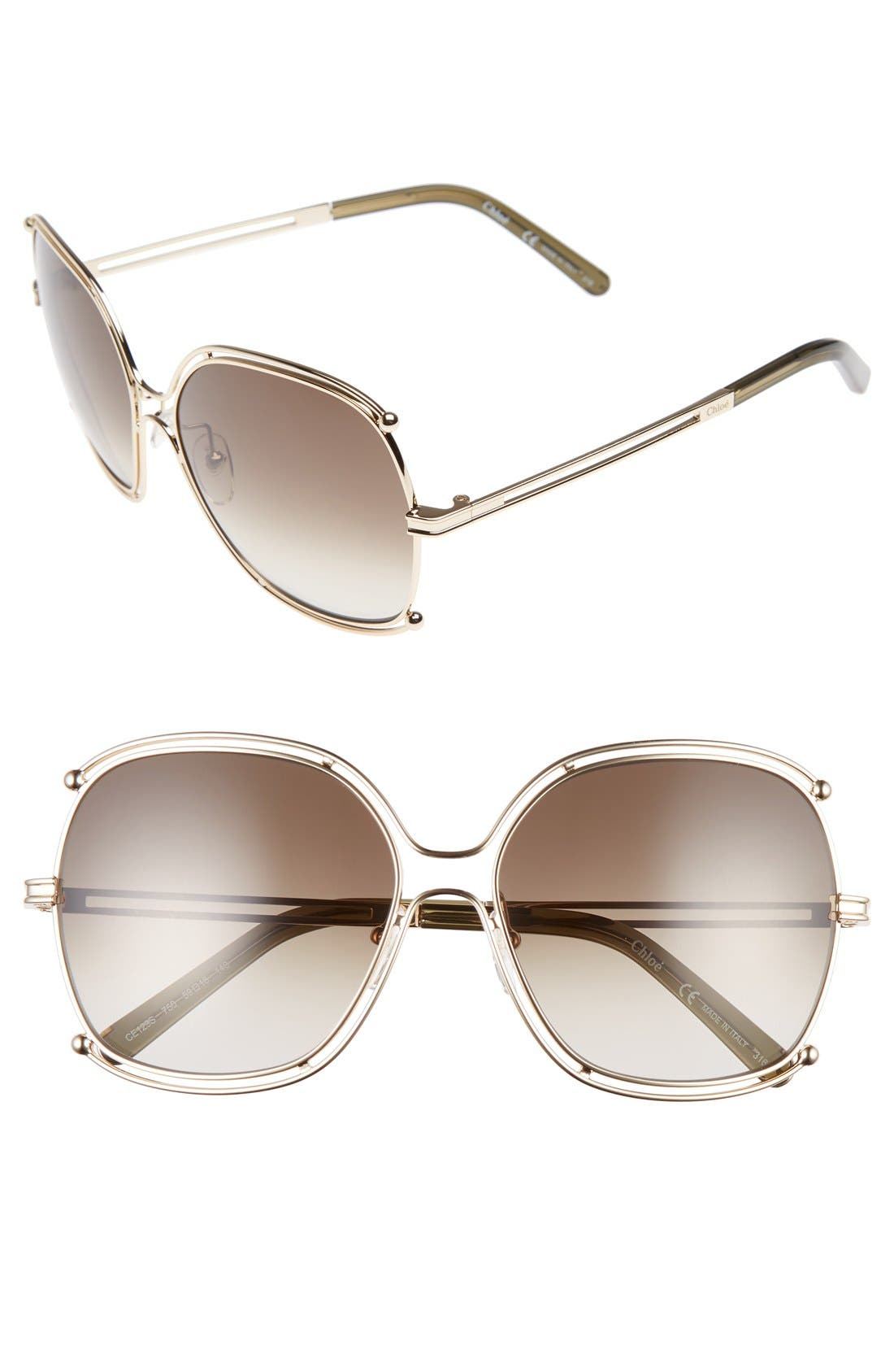 Isidora 59mm Square Sunglasses,                             Main thumbnail 2, color,