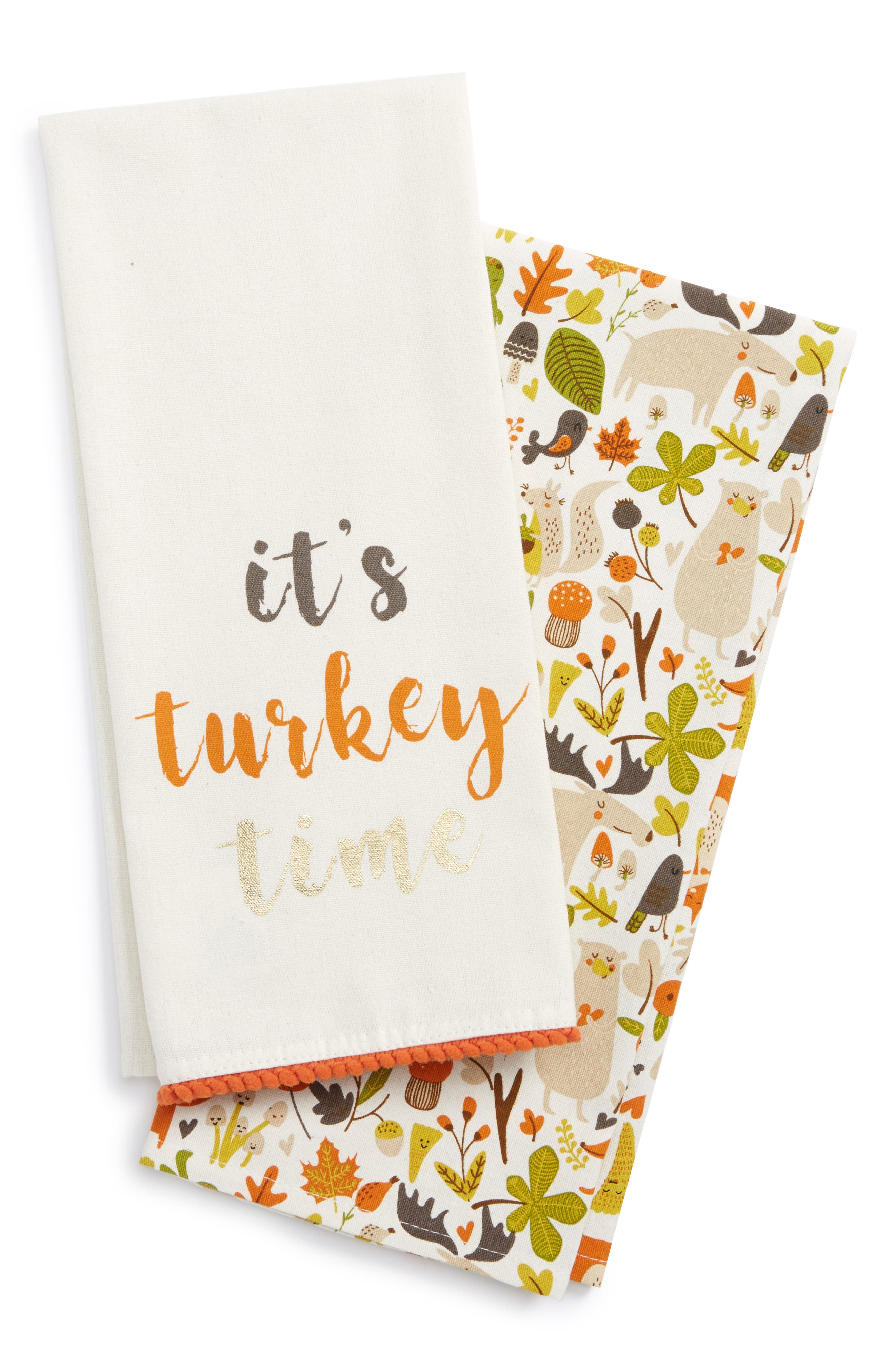 Turkey Time Set of 2 Dish Towels,                             Main thumbnail 1, color,                             250
