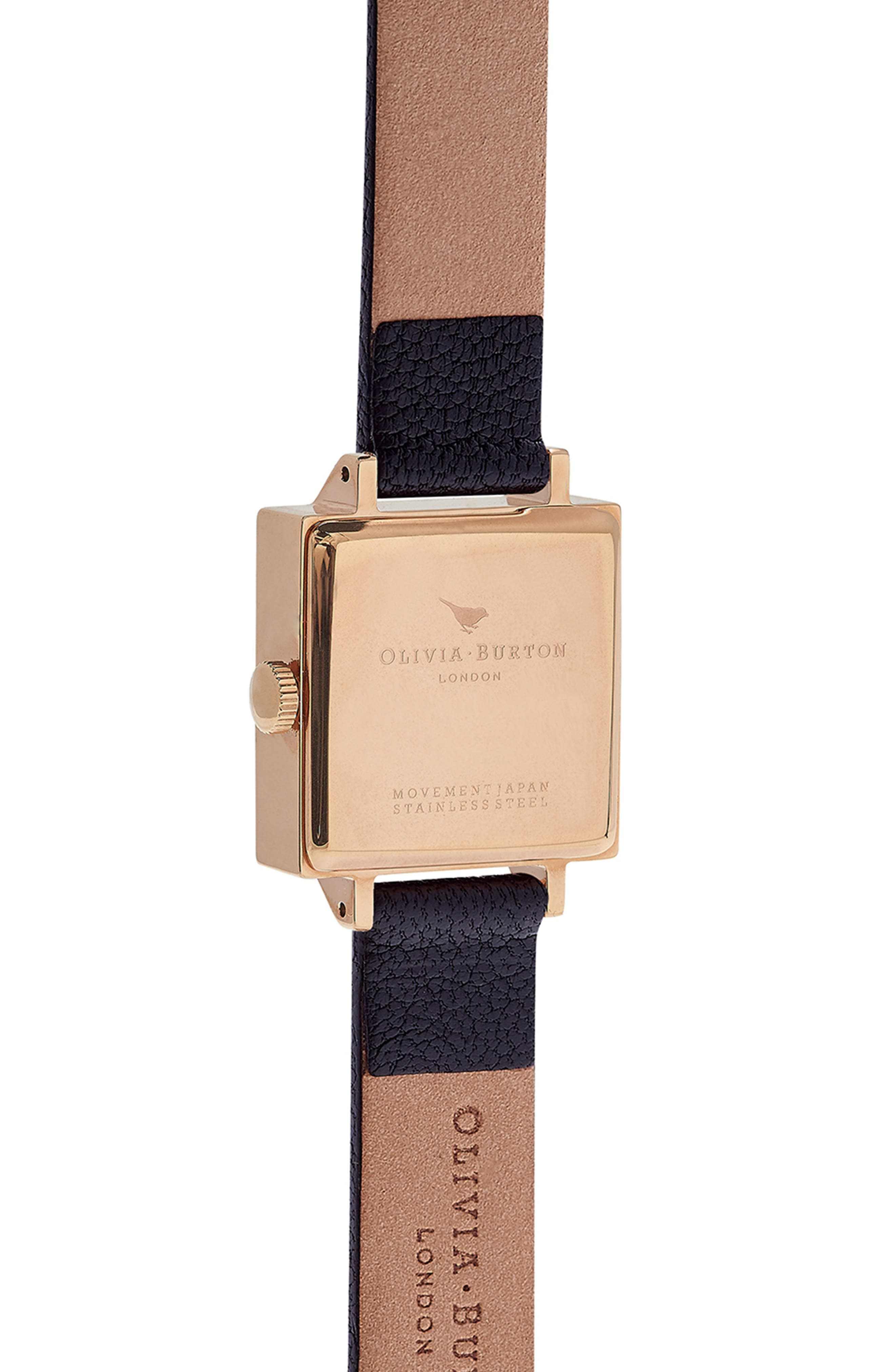 Vintage Bow Square Leather Strap Watch, 30mm,                             Alternate thumbnail 3, color,                             001