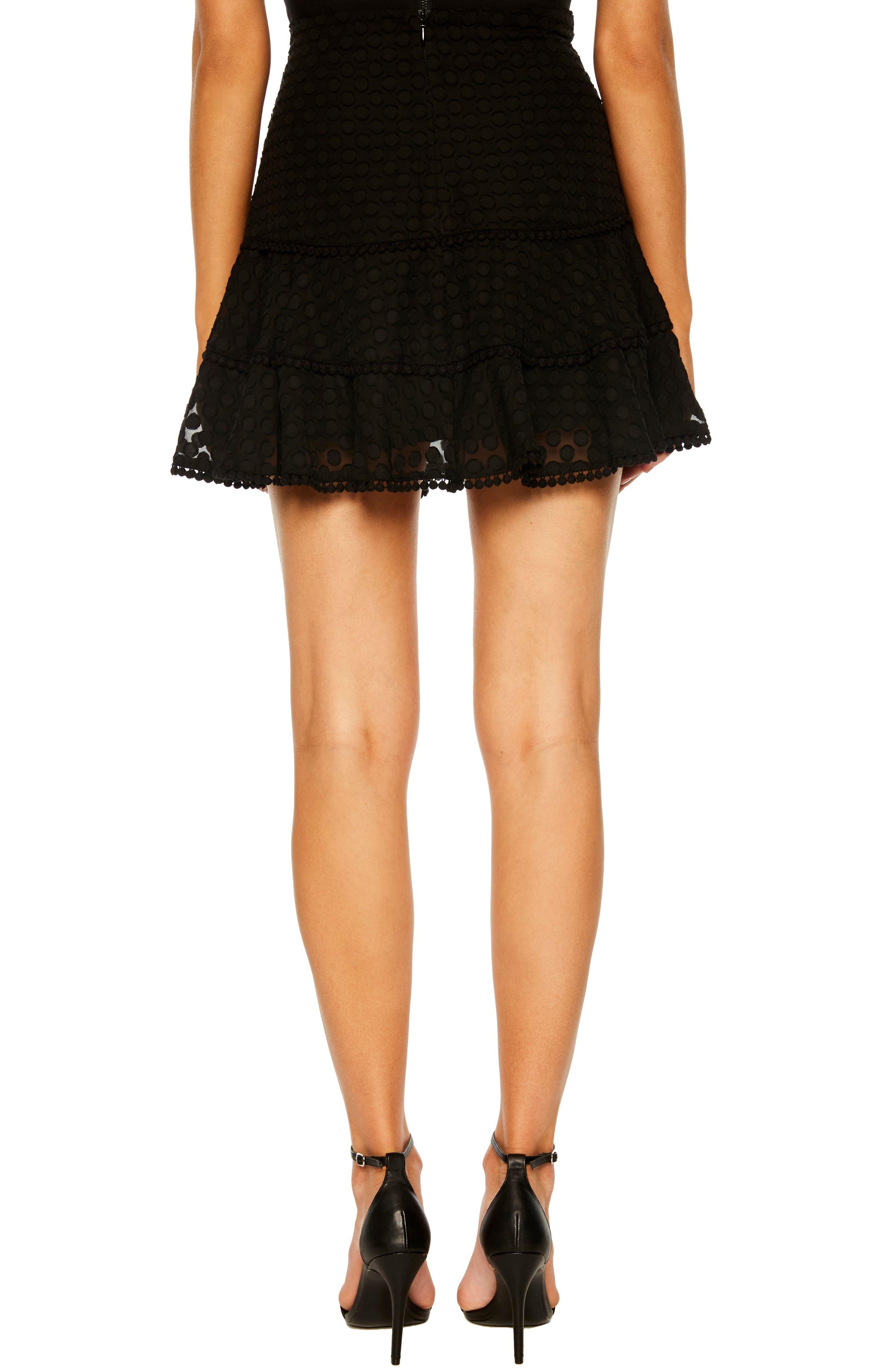Anna Pompom Trim Miniskirt,                             Alternate thumbnail 2, color,                             BLACK