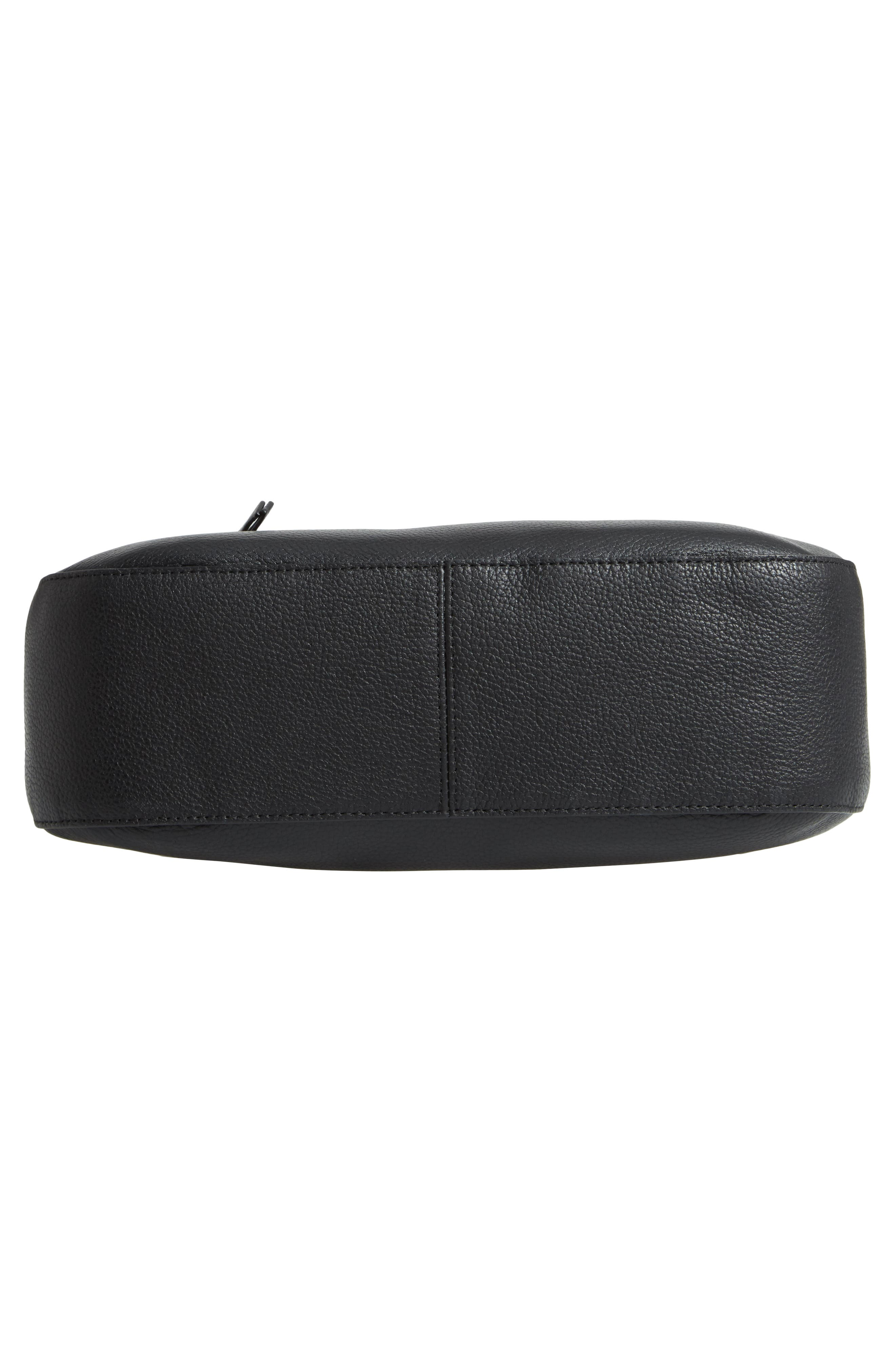 Finn Convertible Leather Hobo,                             Alternate thumbnail 7, color,                             BLACK