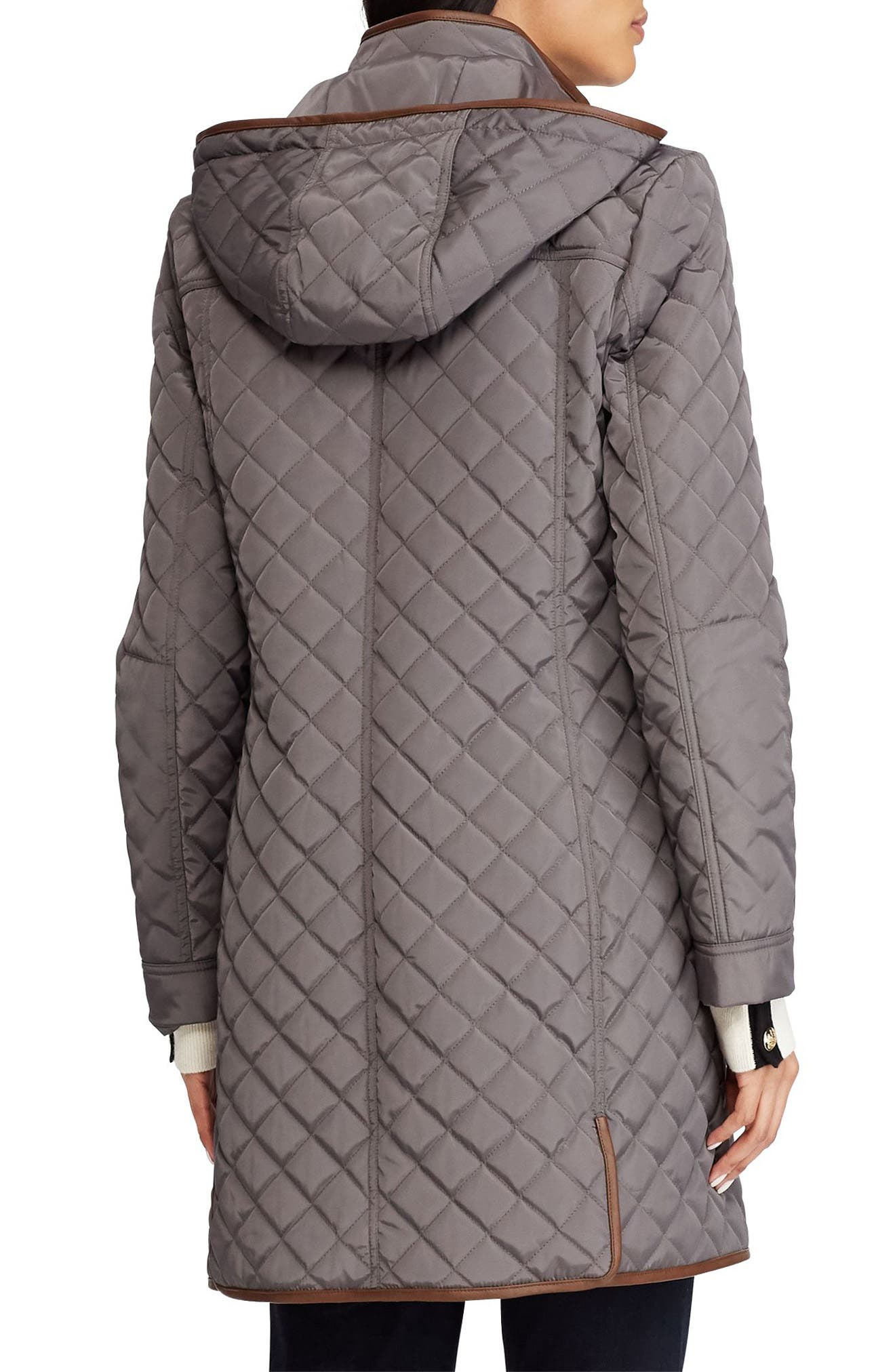 Quilted Hooded Coat,                             Alternate thumbnail 2, color,                             FLANNEL