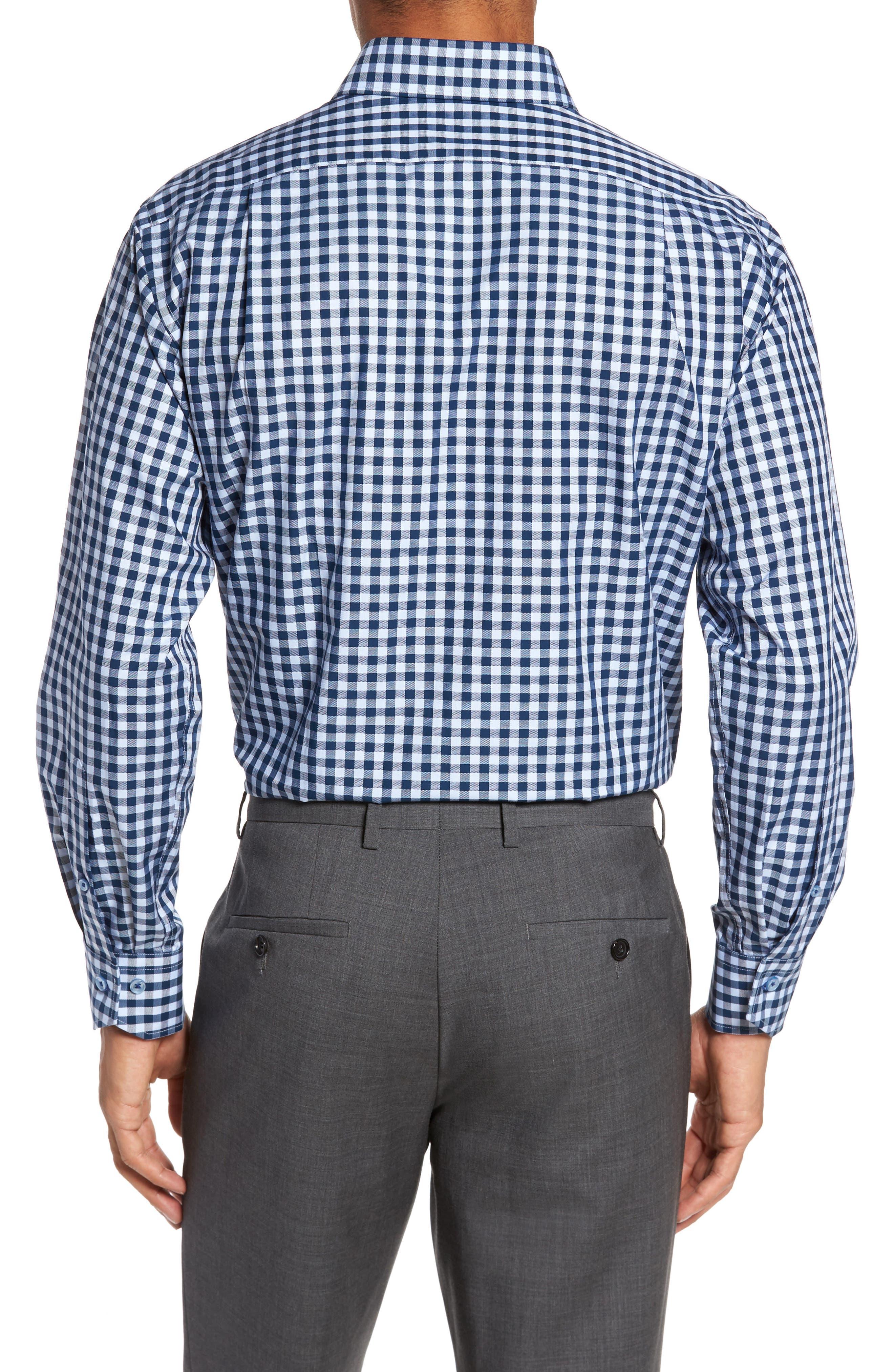 Trim Fit Check Dress Shirt,                             Alternate thumbnail 2, color,                             NAVY