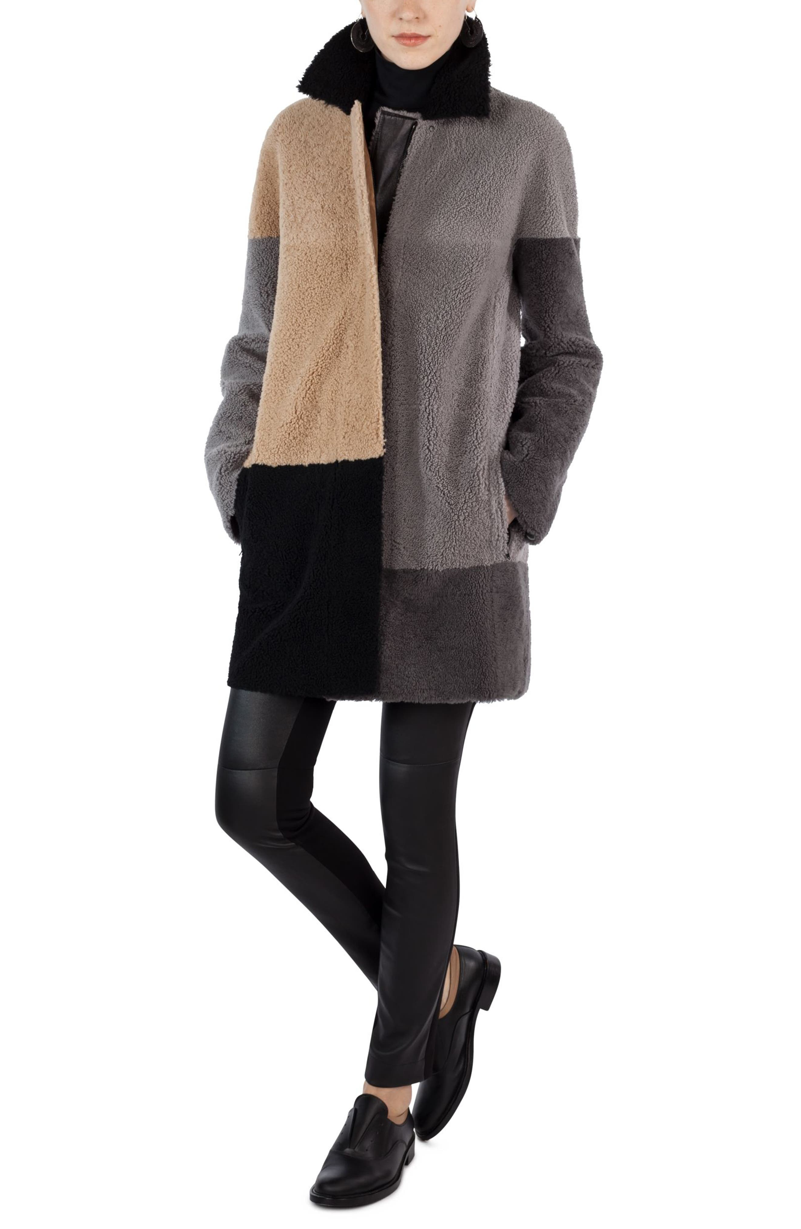 Colorblock Reversible Genuine Shearling Coat,                             Alternate thumbnail 3, color,                             200