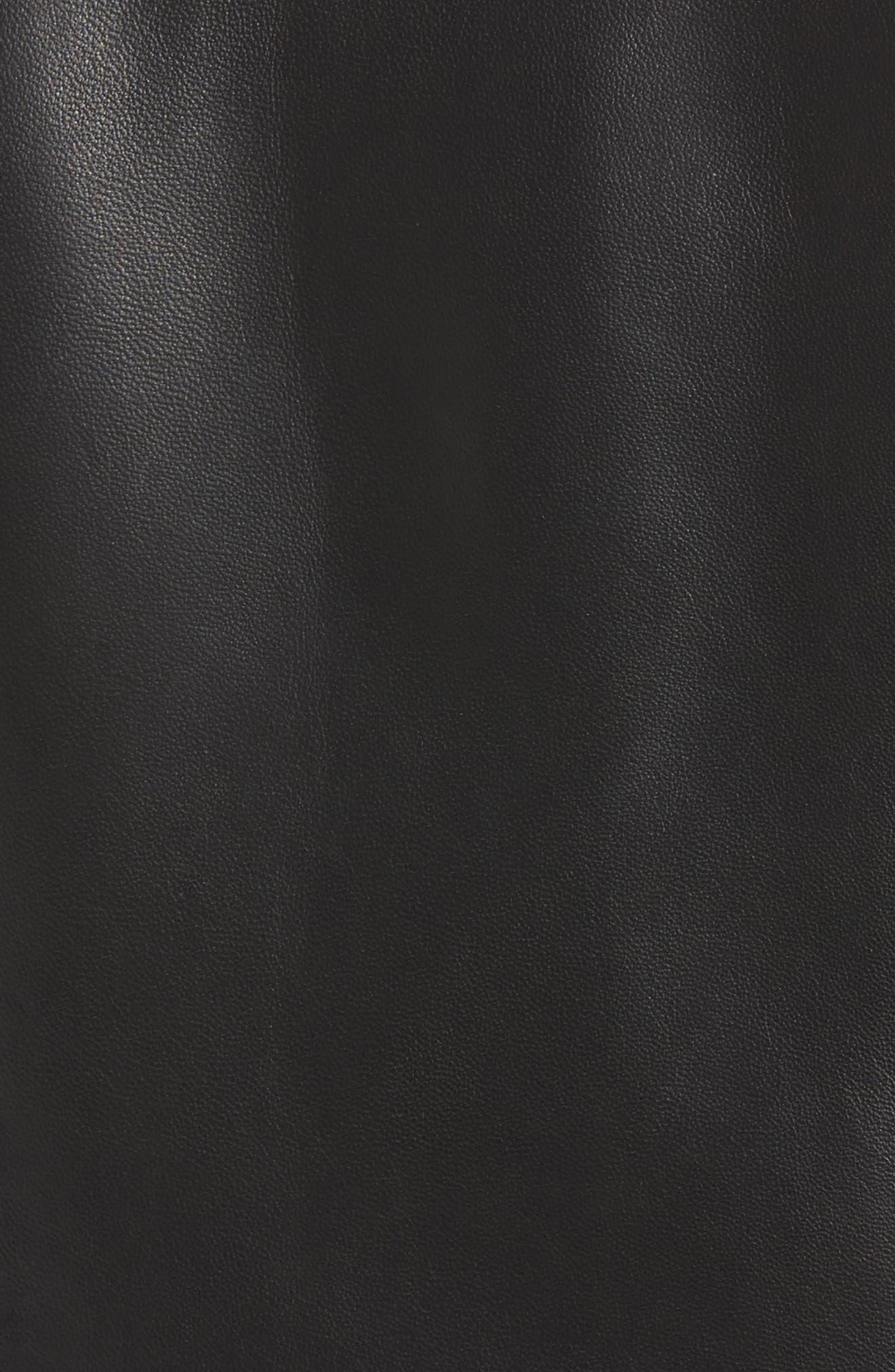 Front Zip Leather Jacket,                             Alternate thumbnail 6, color,                             001