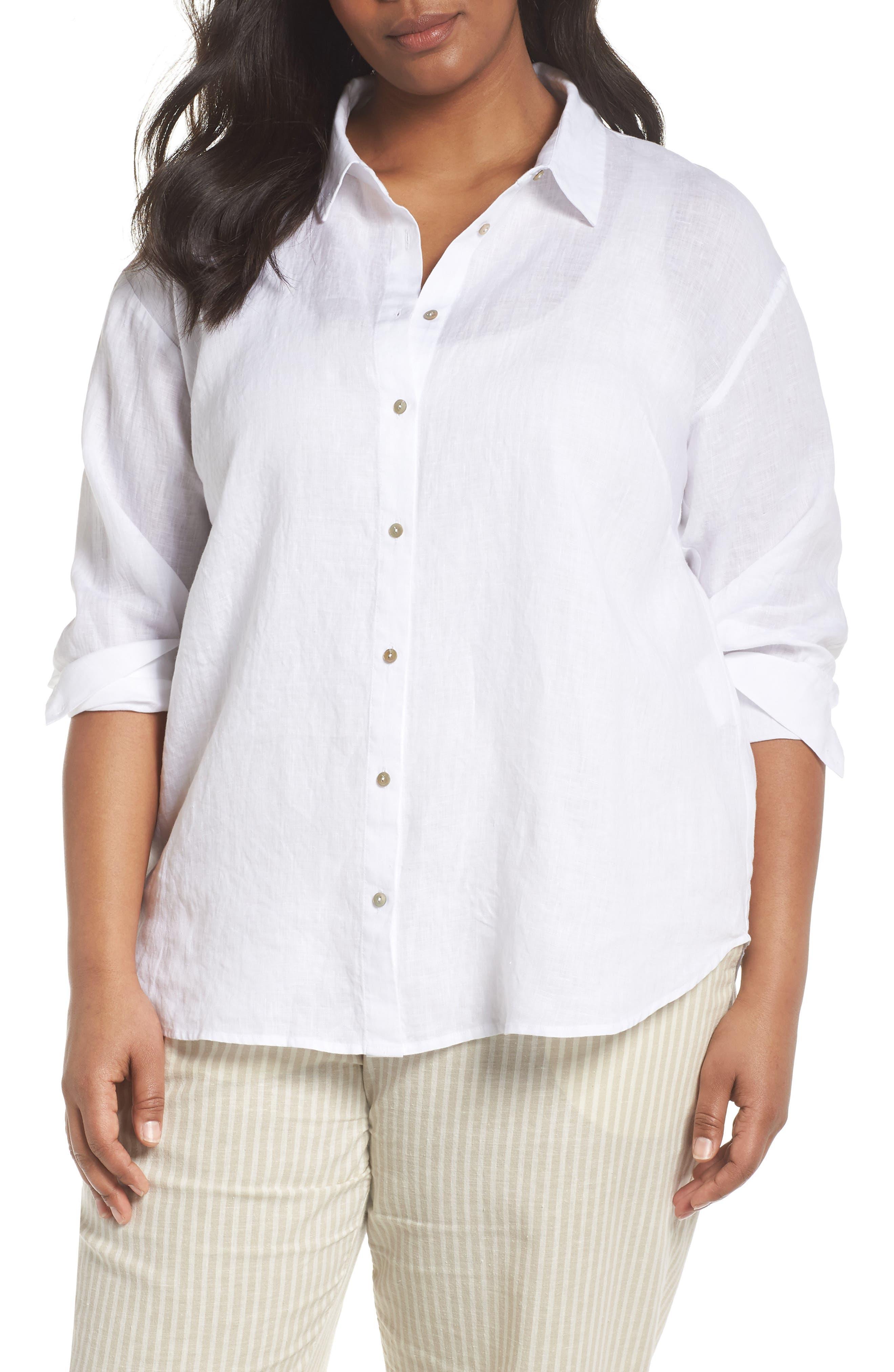 Organic Linen Shirt,                             Main thumbnail 1, color,                             100
