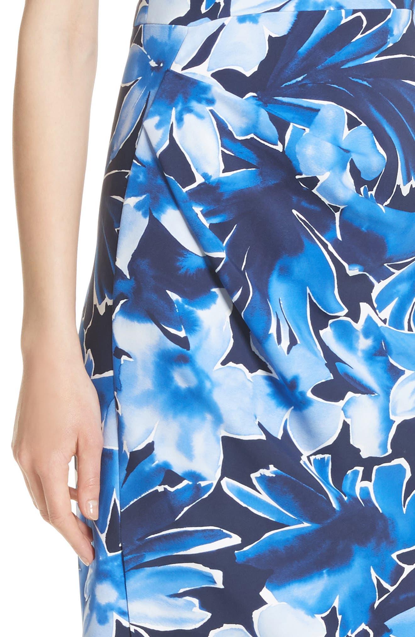Draped Floral Print Sheath Dress,                             Alternate thumbnail 4, color,                             478