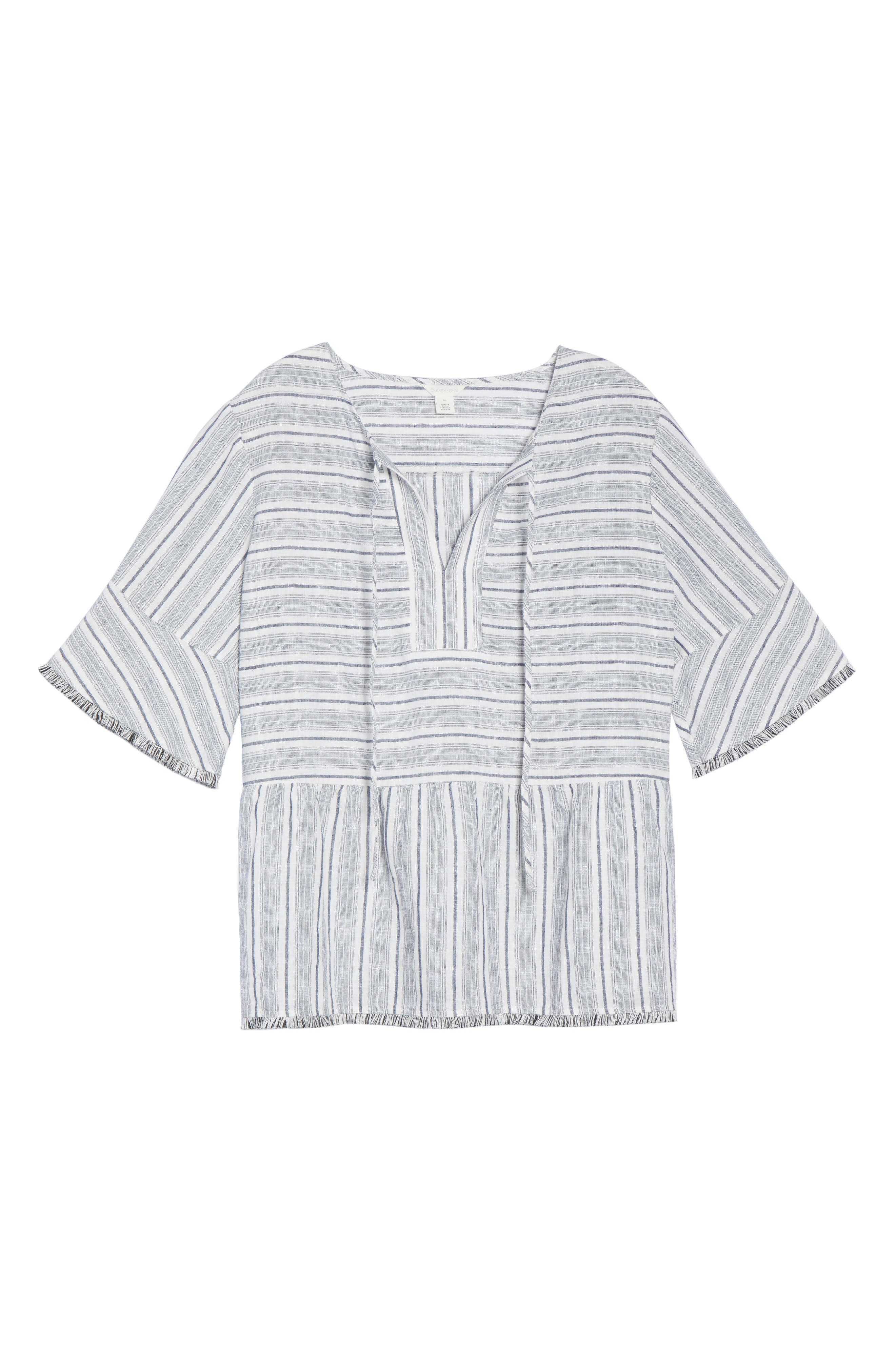 Stripe Fray Edge Linen Blend Top,                             Alternate thumbnail 6, color,                             900