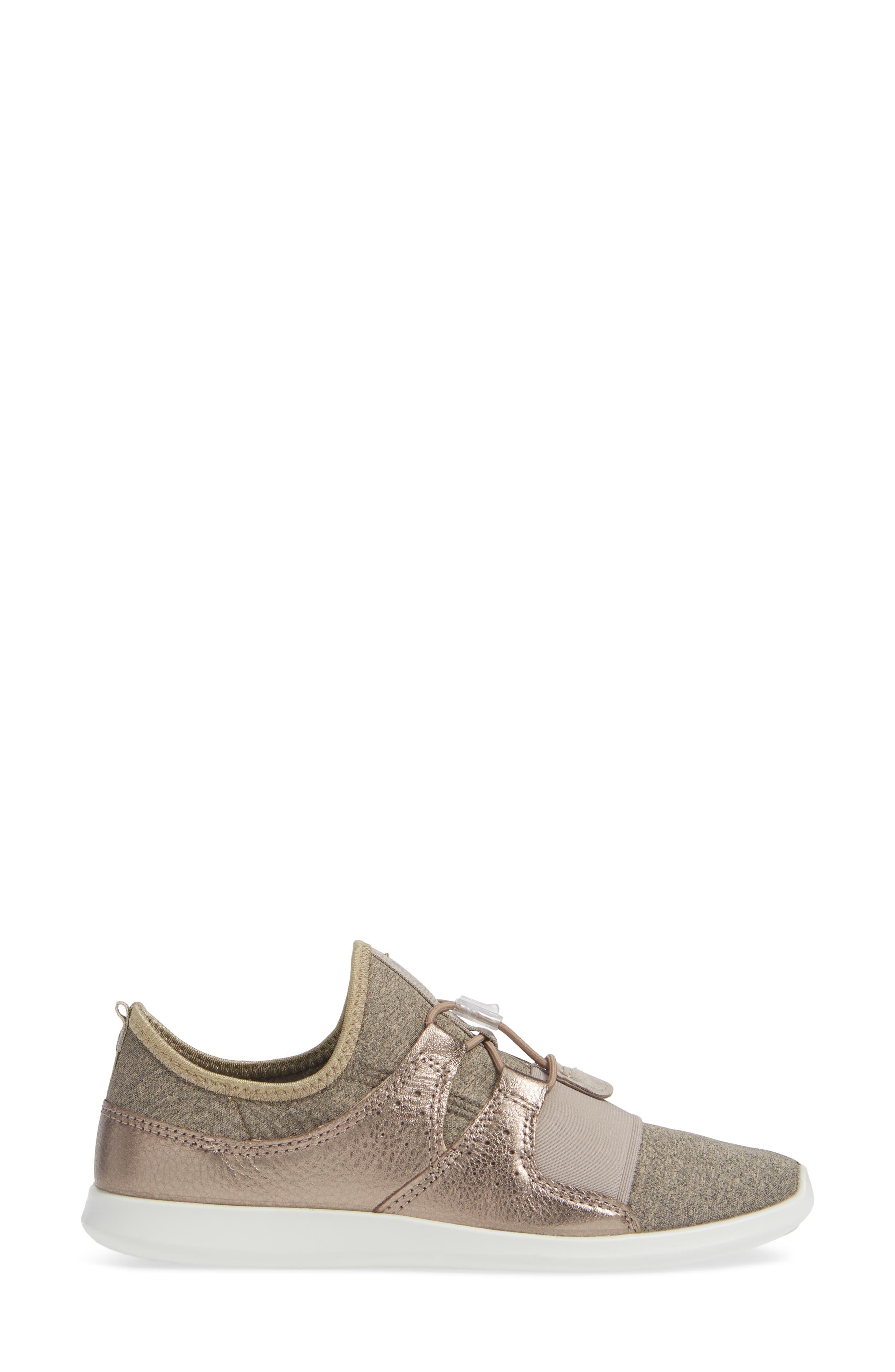 ECCO,                             Sense Toggle Sneaker,                             Alternate thumbnail 3, color,                             METALLIC STONE LEATHER