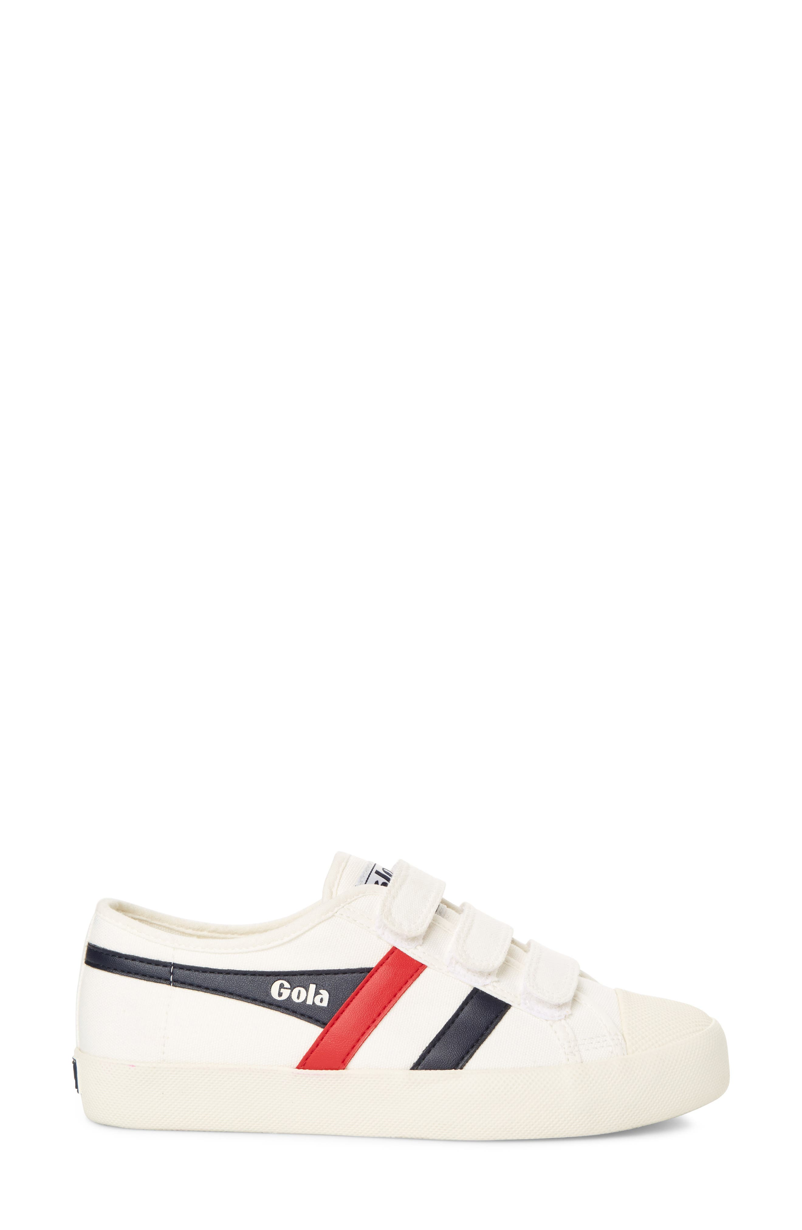 Coaster Low Top Sneaker,                             Alternate thumbnail 3, color,                             OFF WHITE/ NAVY/ RED