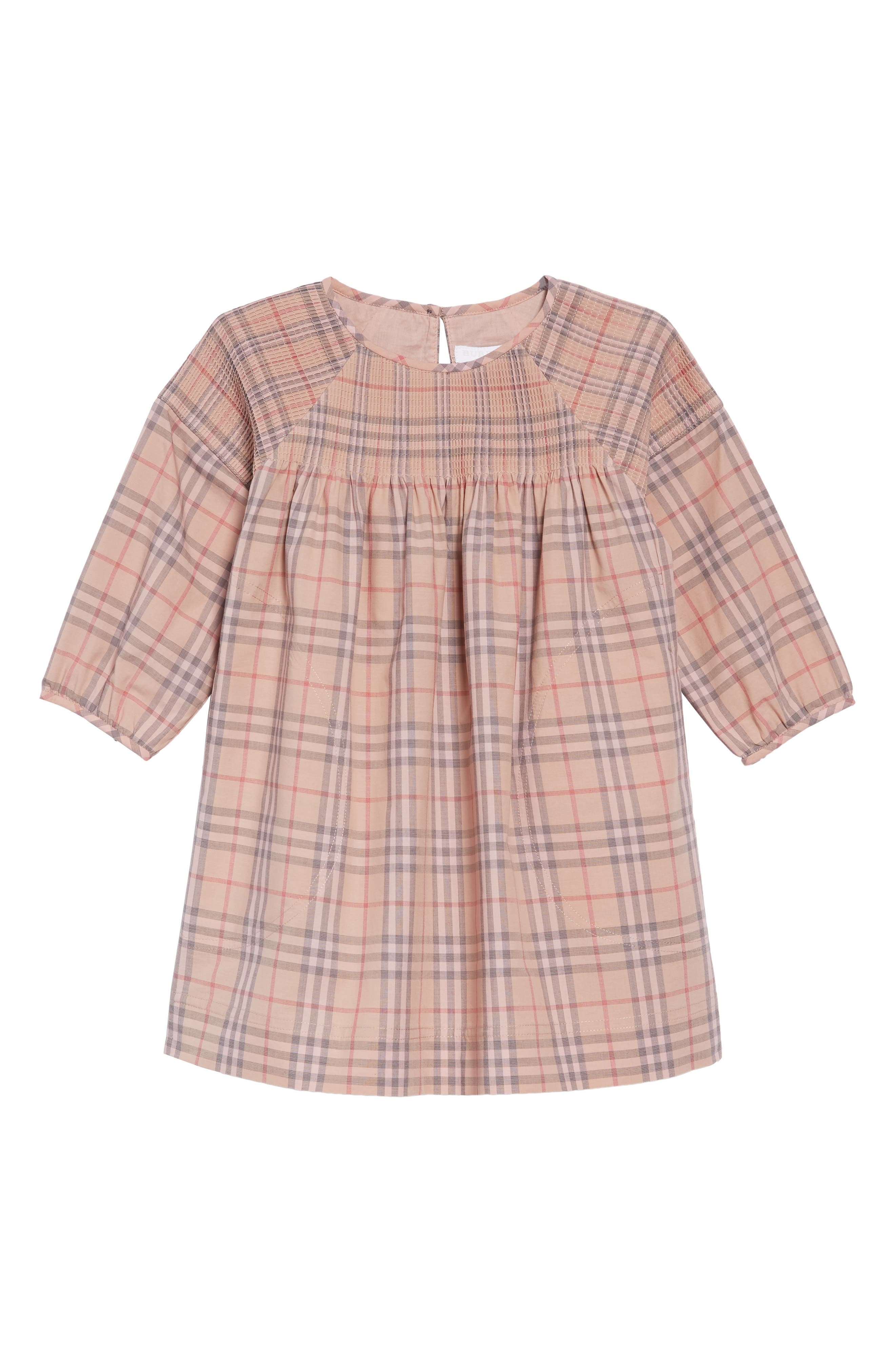 Mini Loralie Ruffle Detail Check Cotton Dress,                             Main thumbnail 1, color,                             PALE PINK