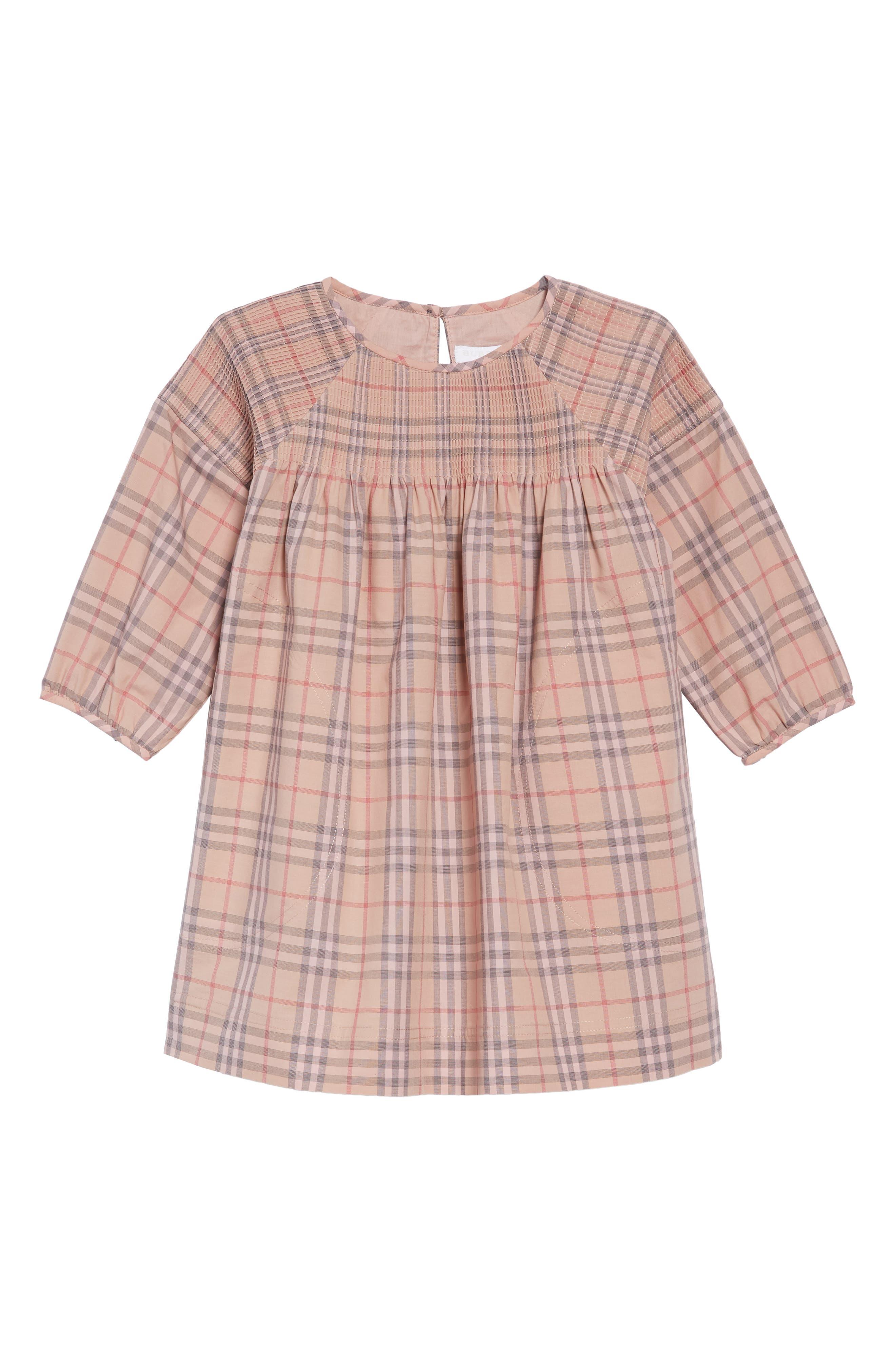 Mini Loralie Ruffle Detail Check Cotton Dress,                         Main,                         color, PALE PINK