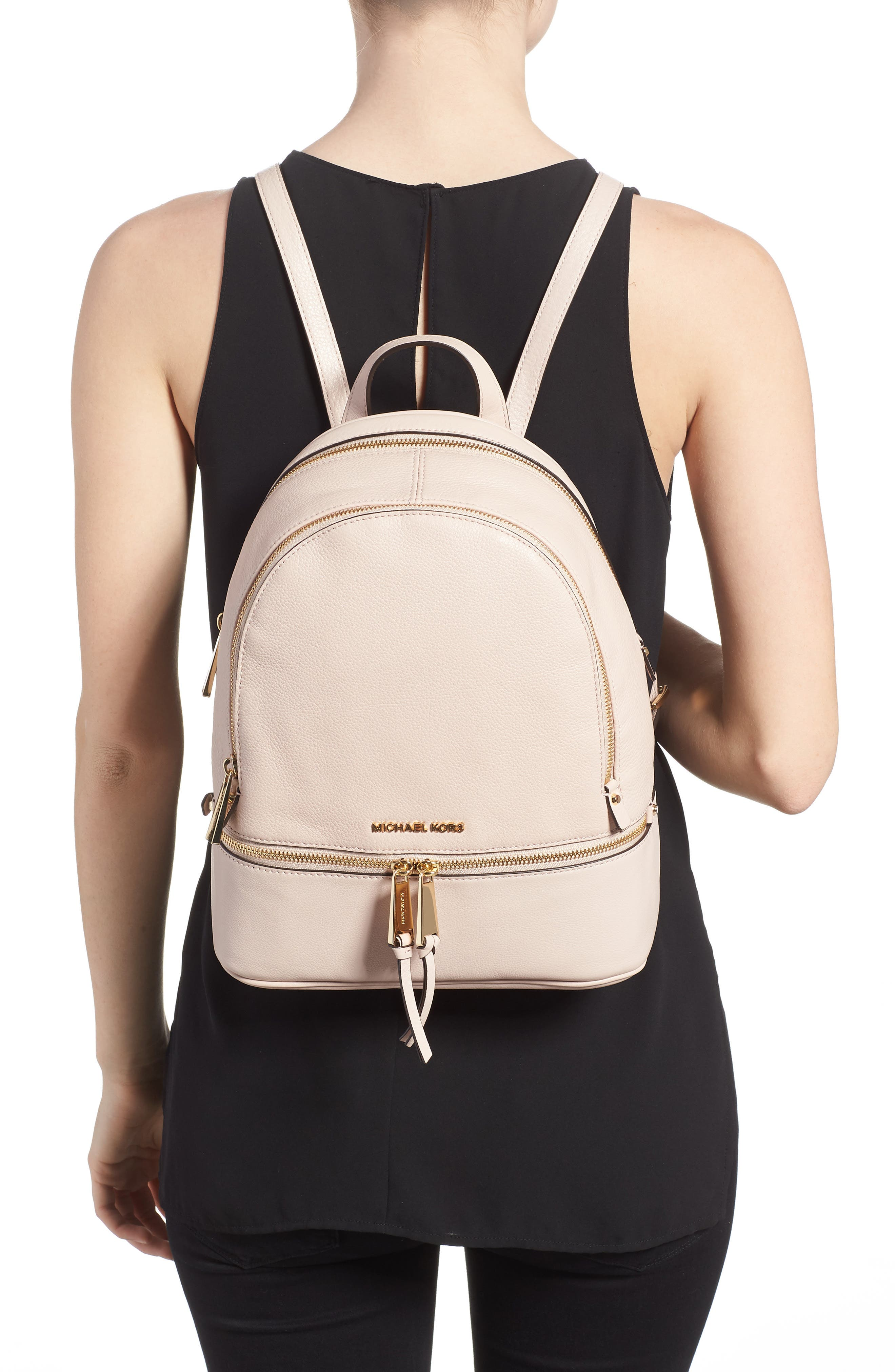 'Extra Small Rhea Zip' Leather Backpack,                             Alternate thumbnail 13, color,