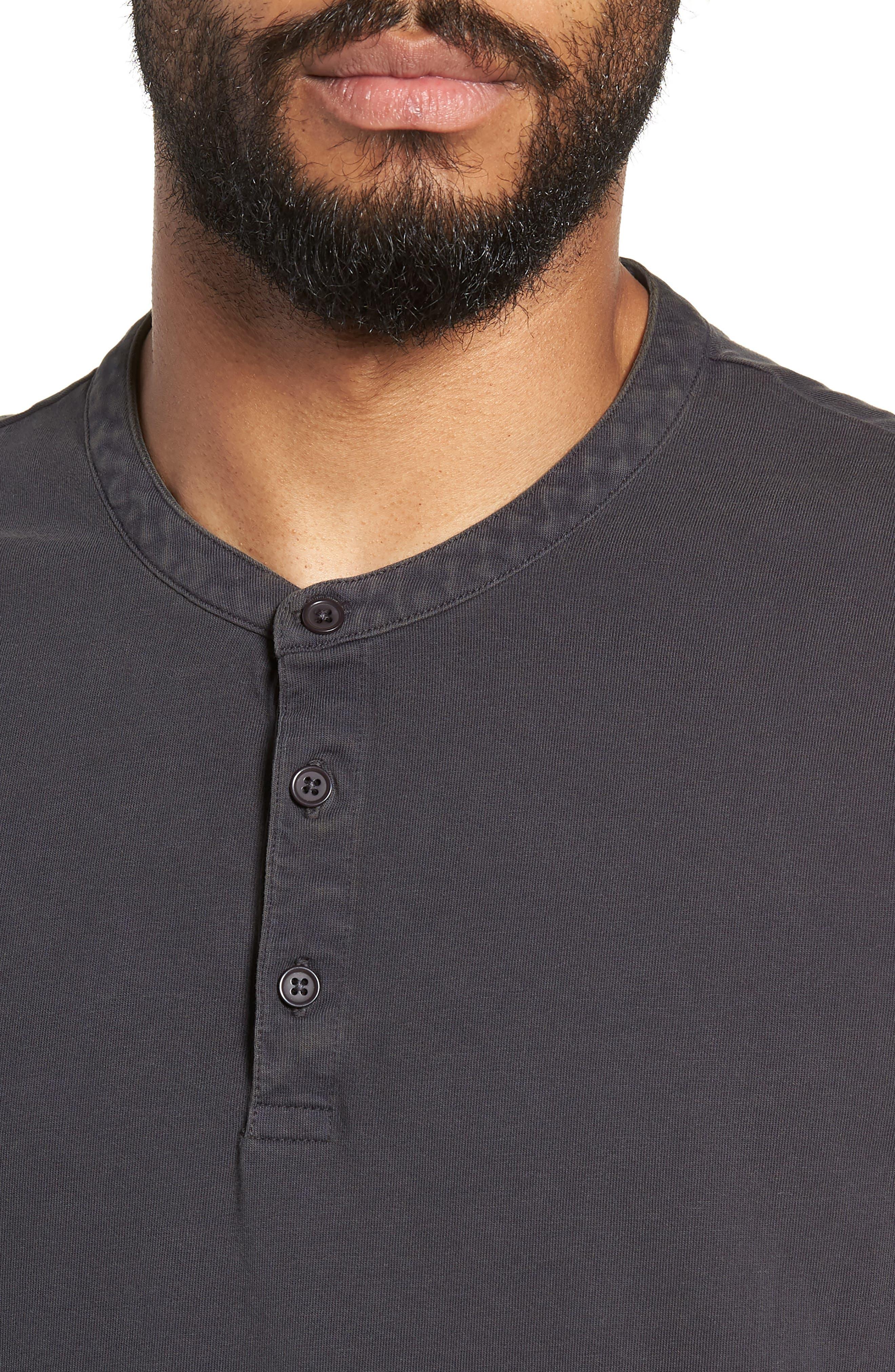 VINCE,                             Regular Fit Garment Dye Short Sleeve Henley,                             Alternate thumbnail 4, color,                             001