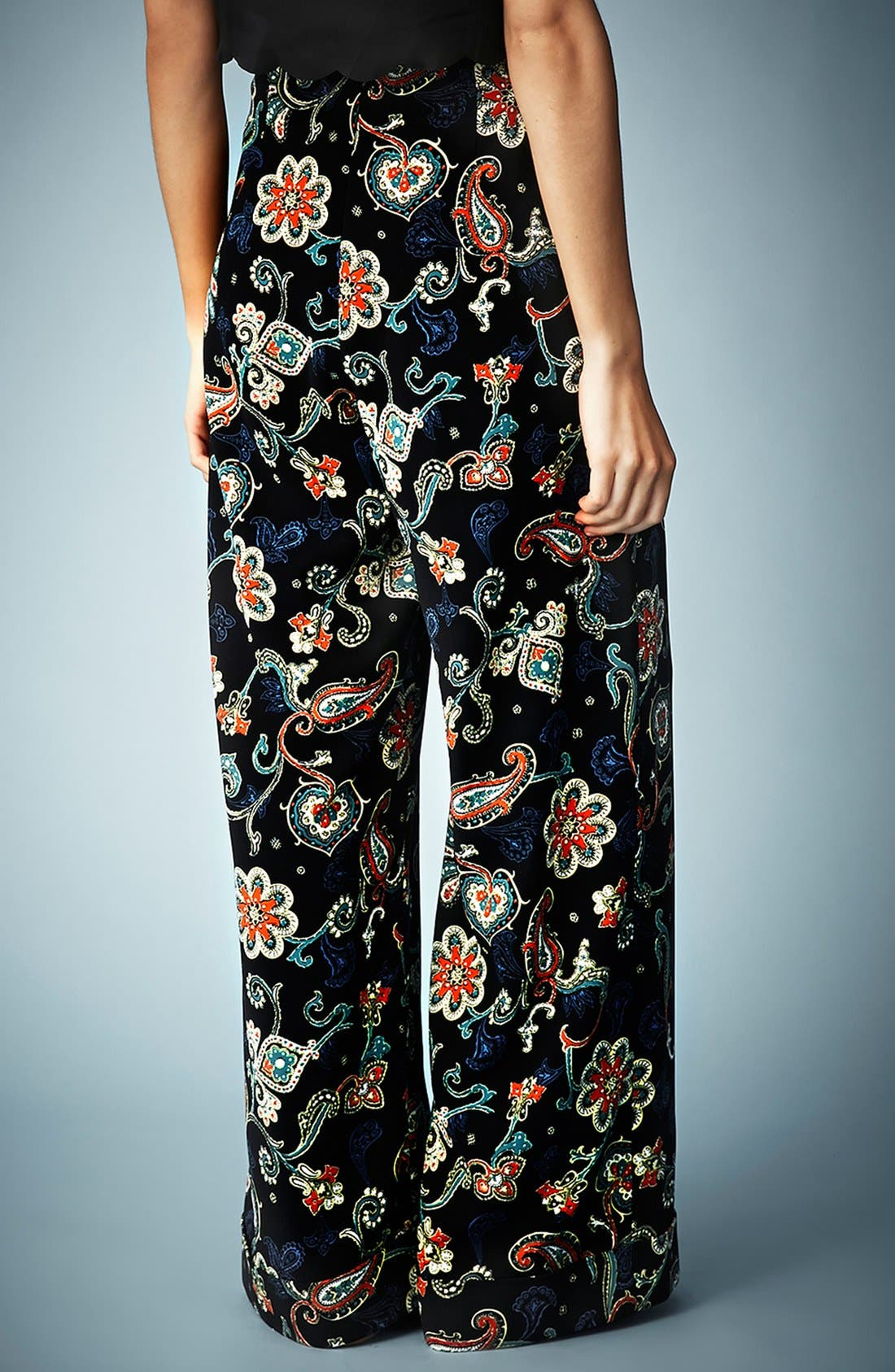 Kate Moss for Topshop Paisley Wide Leg Pants,                             Alternate thumbnail 3, color,                             001