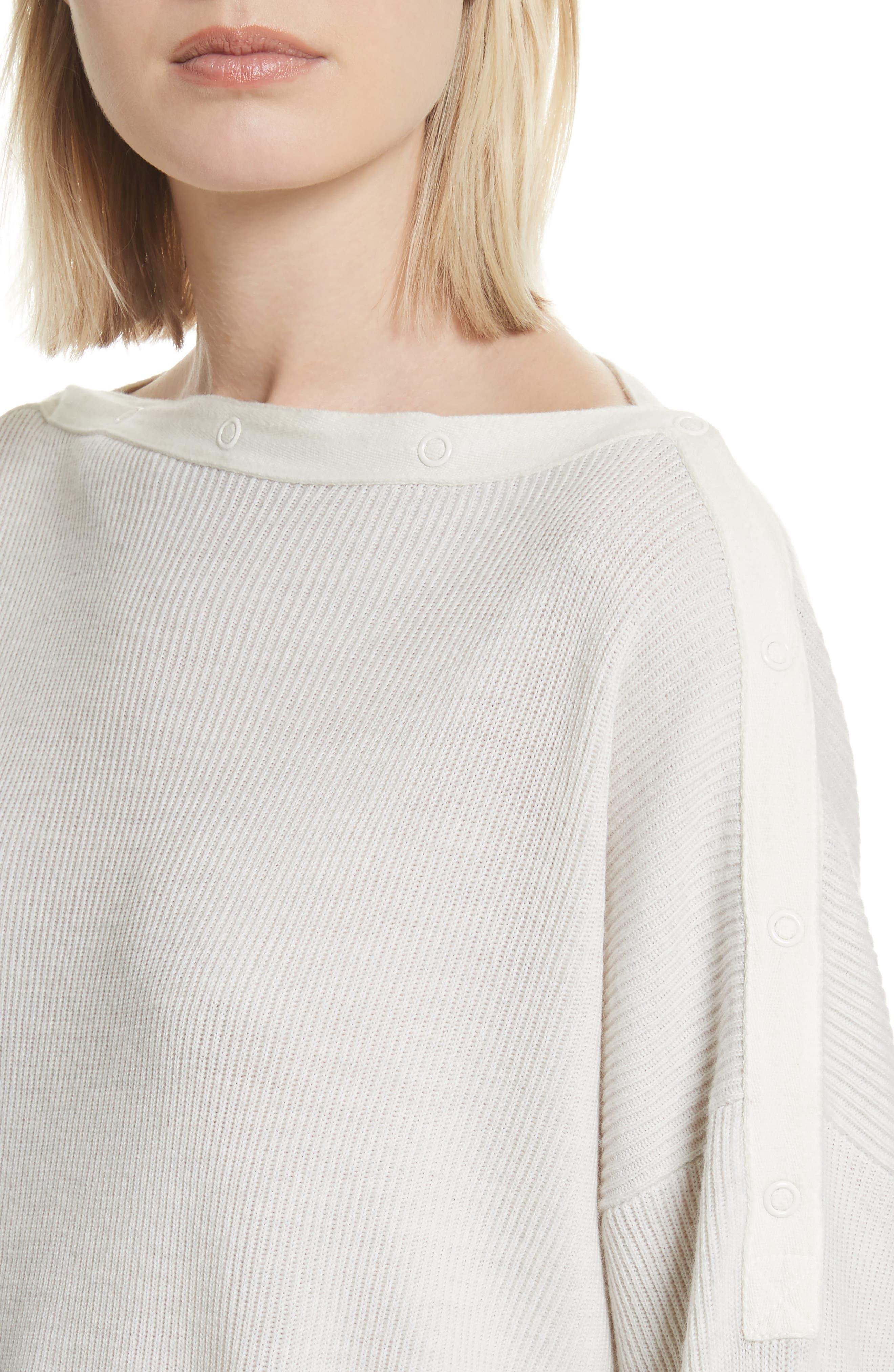 T by Alexander Wang Snap Detail Merino Wool Blend Sweater,                             Alternate thumbnail 4, color,                             906