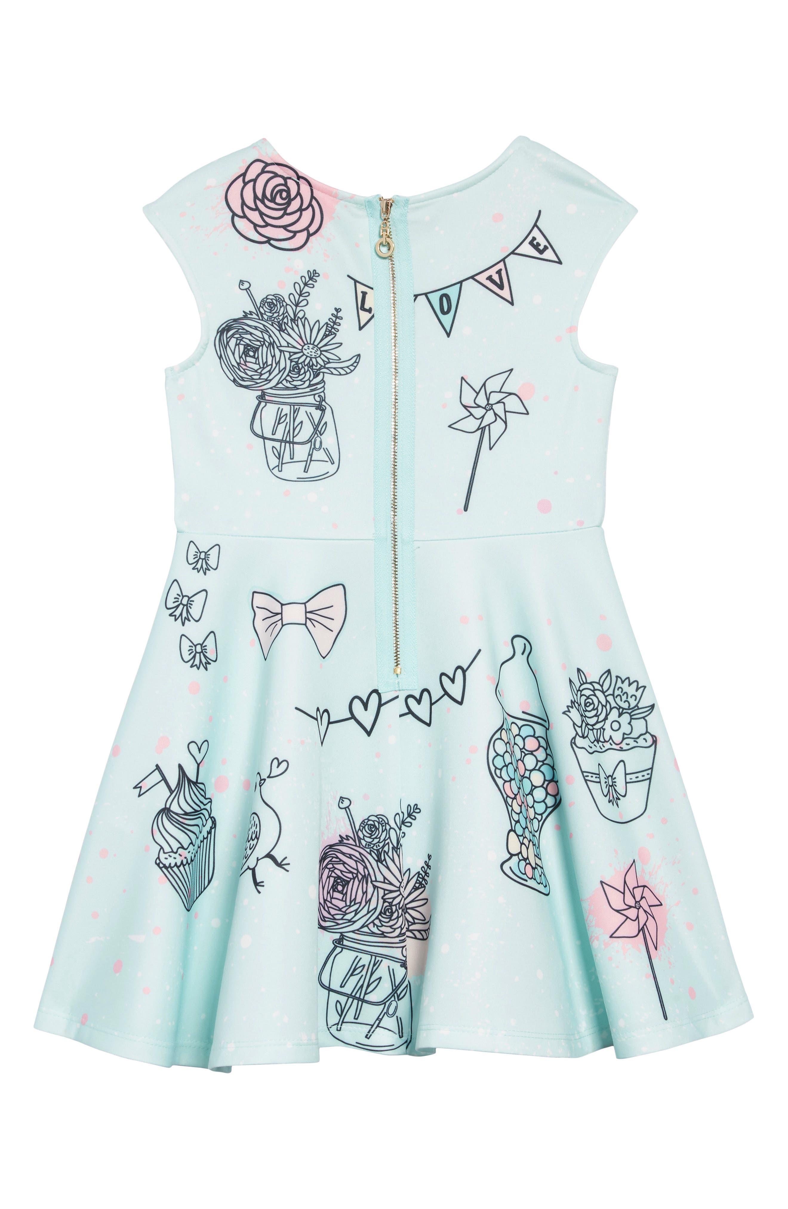 Whimsy Embellished Fit & Flare Dress,                             Alternate thumbnail 2, color,                             AQUA MULTI