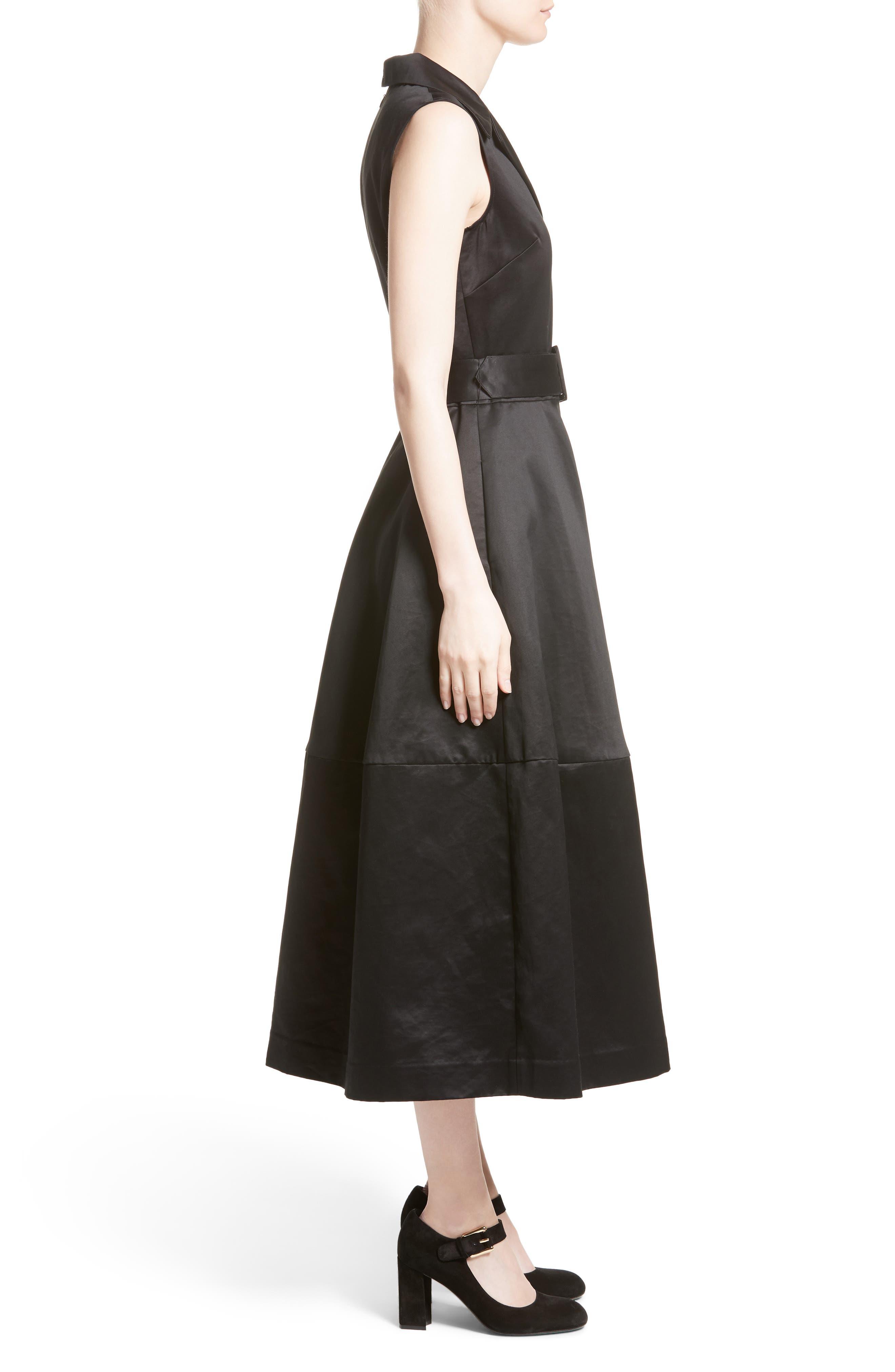 Cotton Sateen A-Line Dress,                             Alternate thumbnail 3, color,                             001