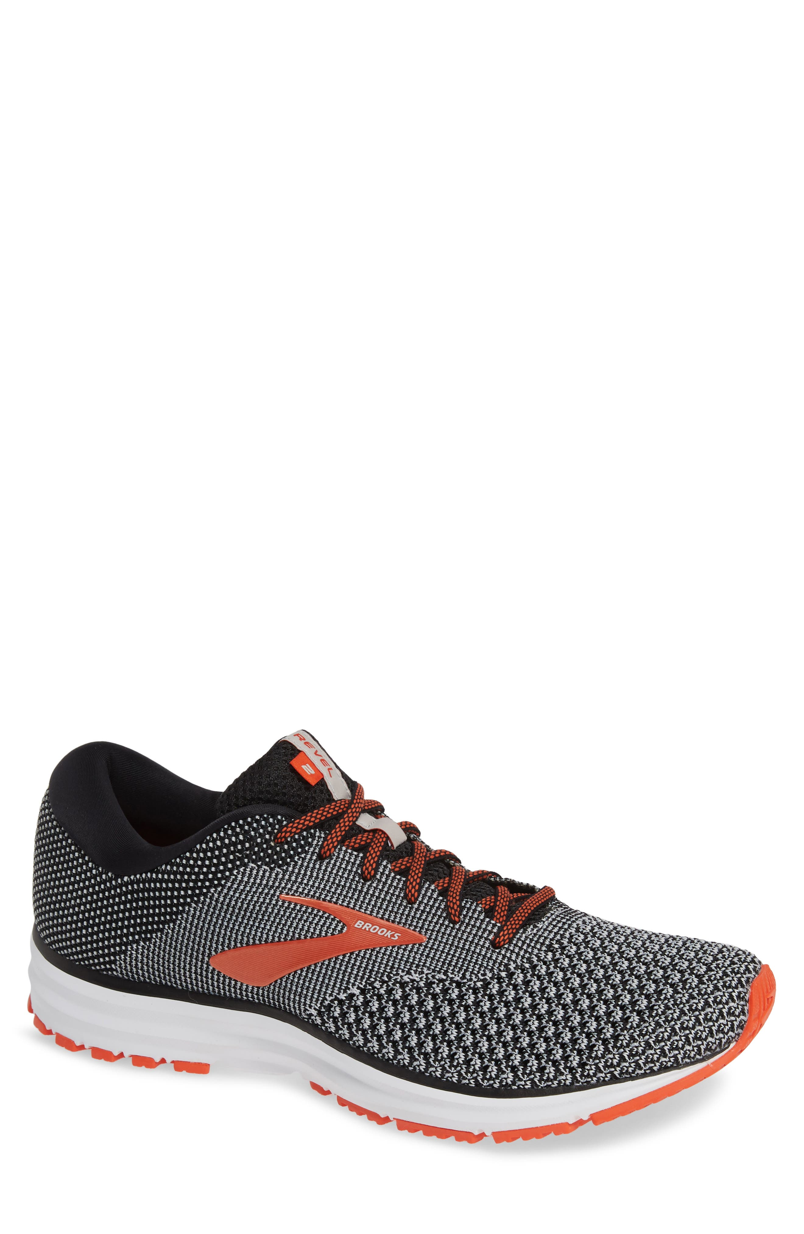 Revel 2 Running Shoe,                         Main,                         color, BLACK/ LIGHT GREY/ ORANGE