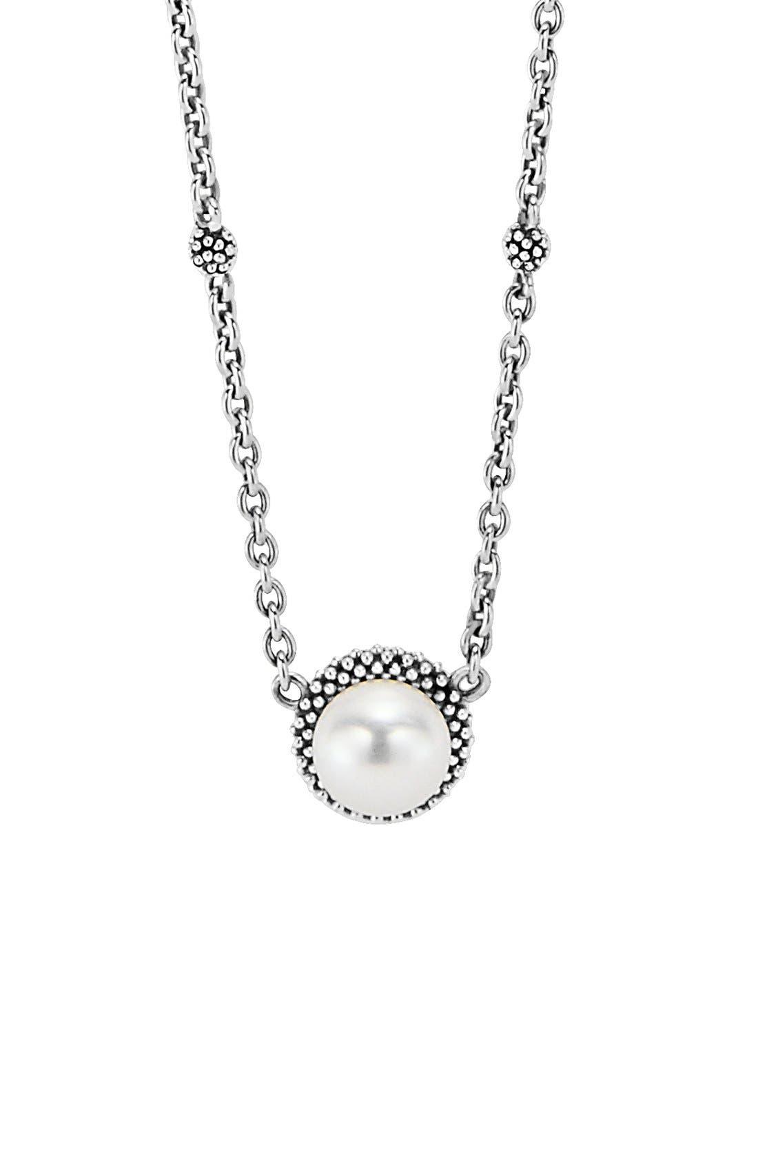 'Luna' Pearl Pendant Necklace,                         Main,                         color, SILVER/ PEARL