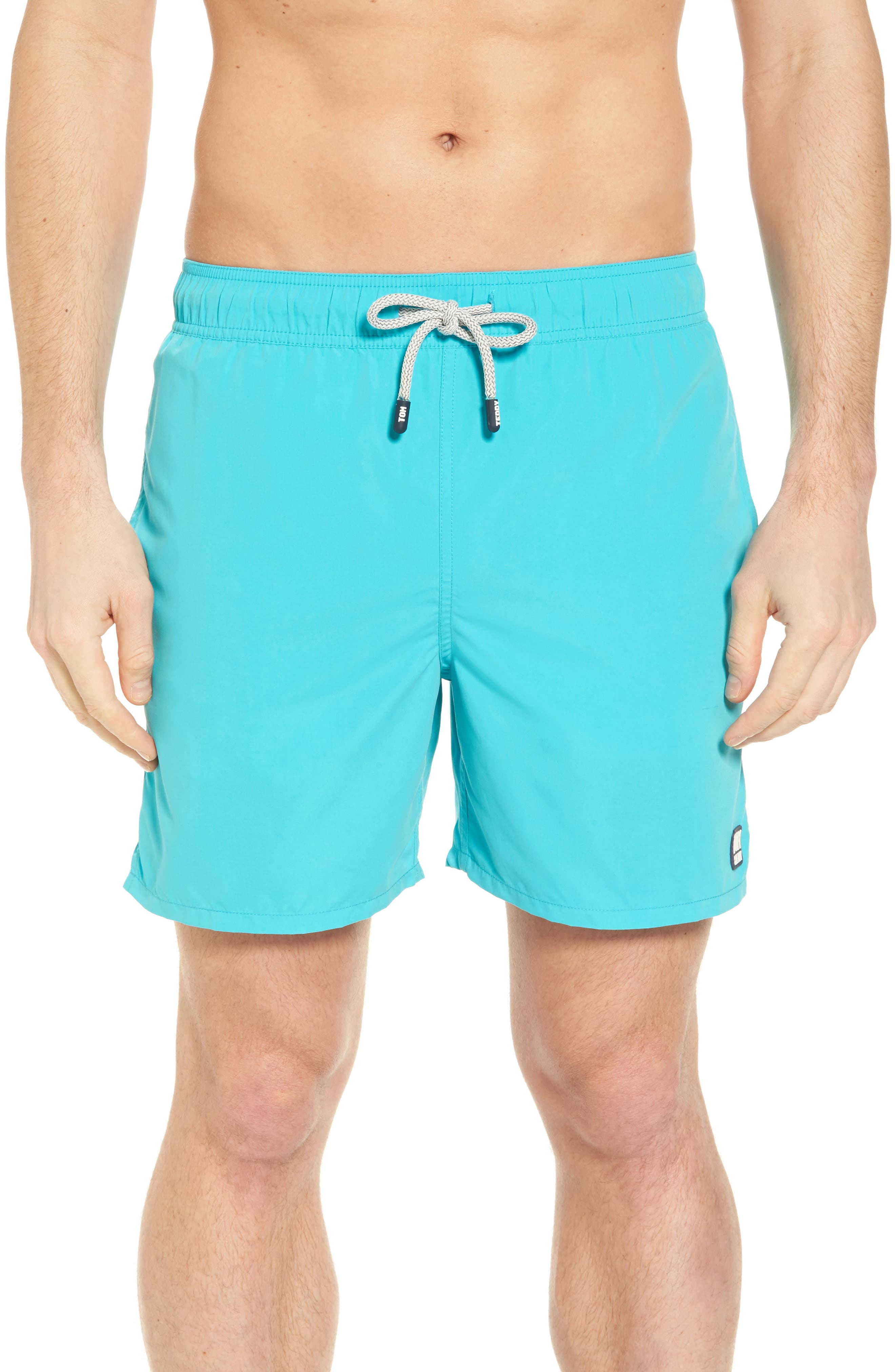 Solid Swim Trunks,                         Main,                         color, POOL BLUE