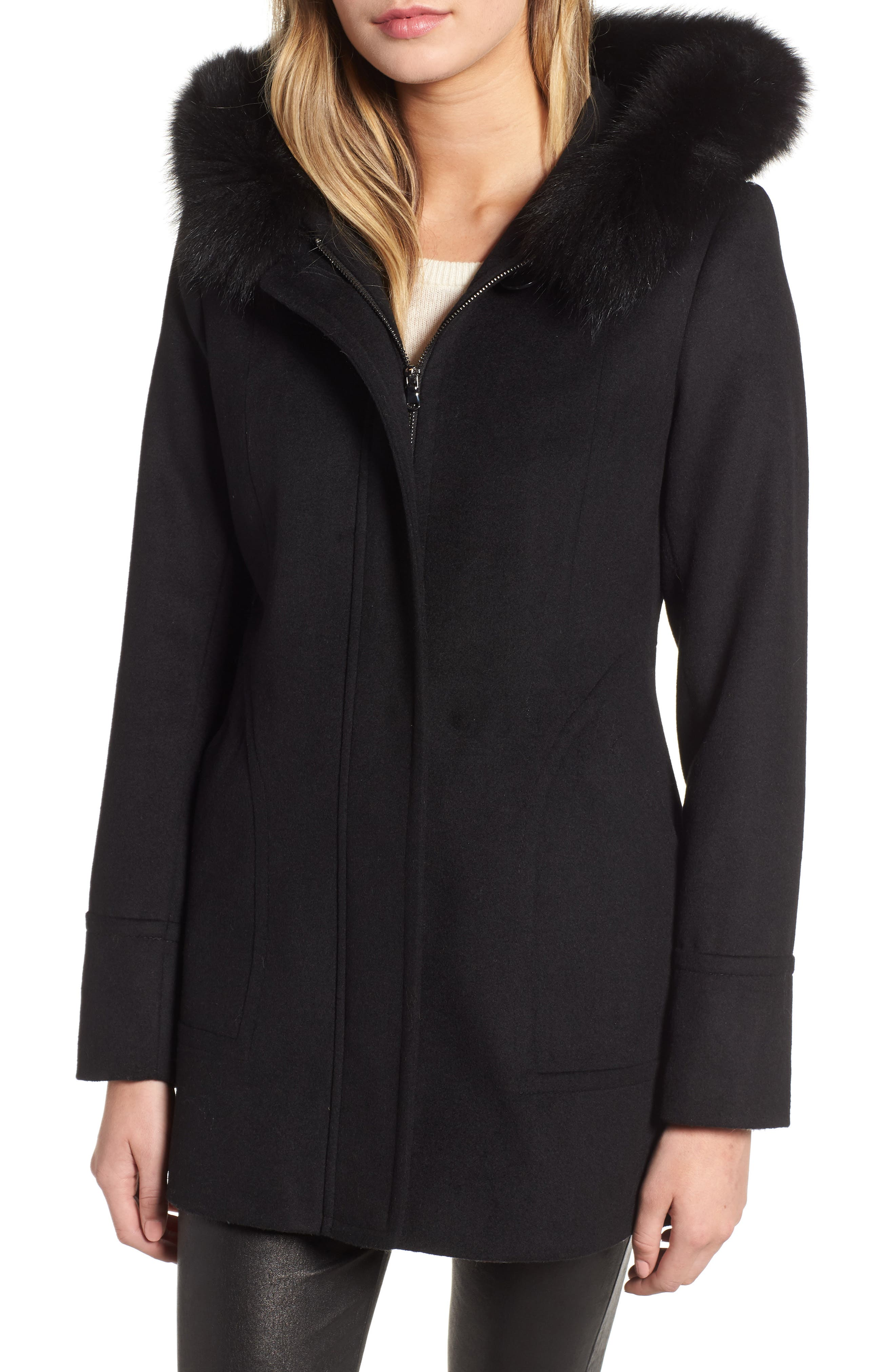 Genuine Fox Fur Trim Hooded Wool Coat,                             Main thumbnail 1, color,                             001