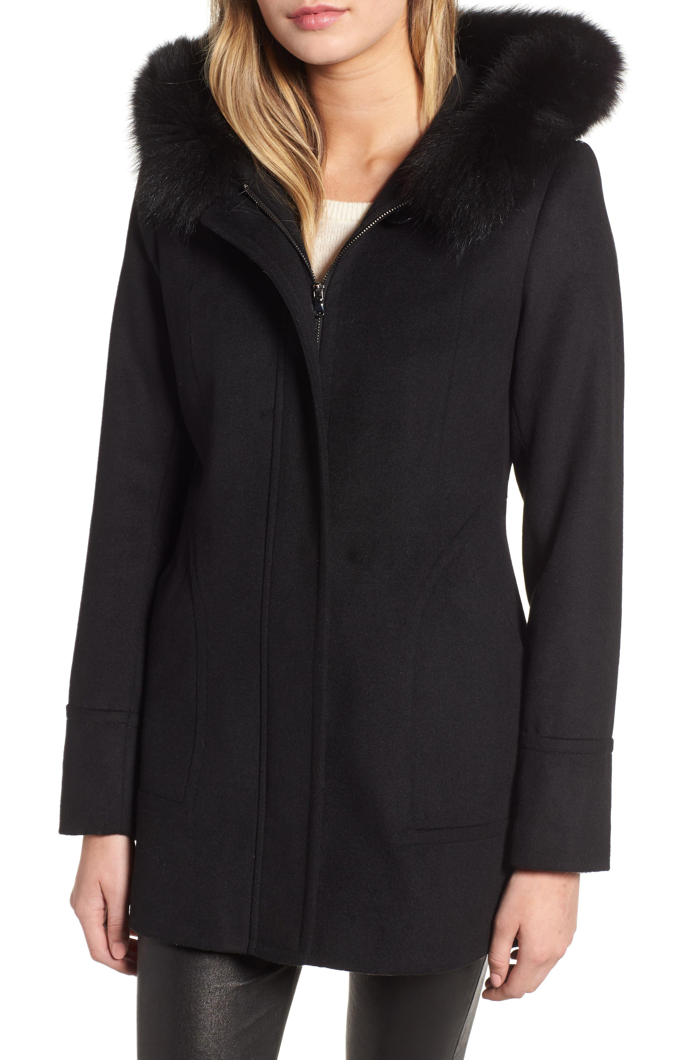 Genuine Fox Fur Trim Hooded Wool Coat,                         Main,                         color, 001
