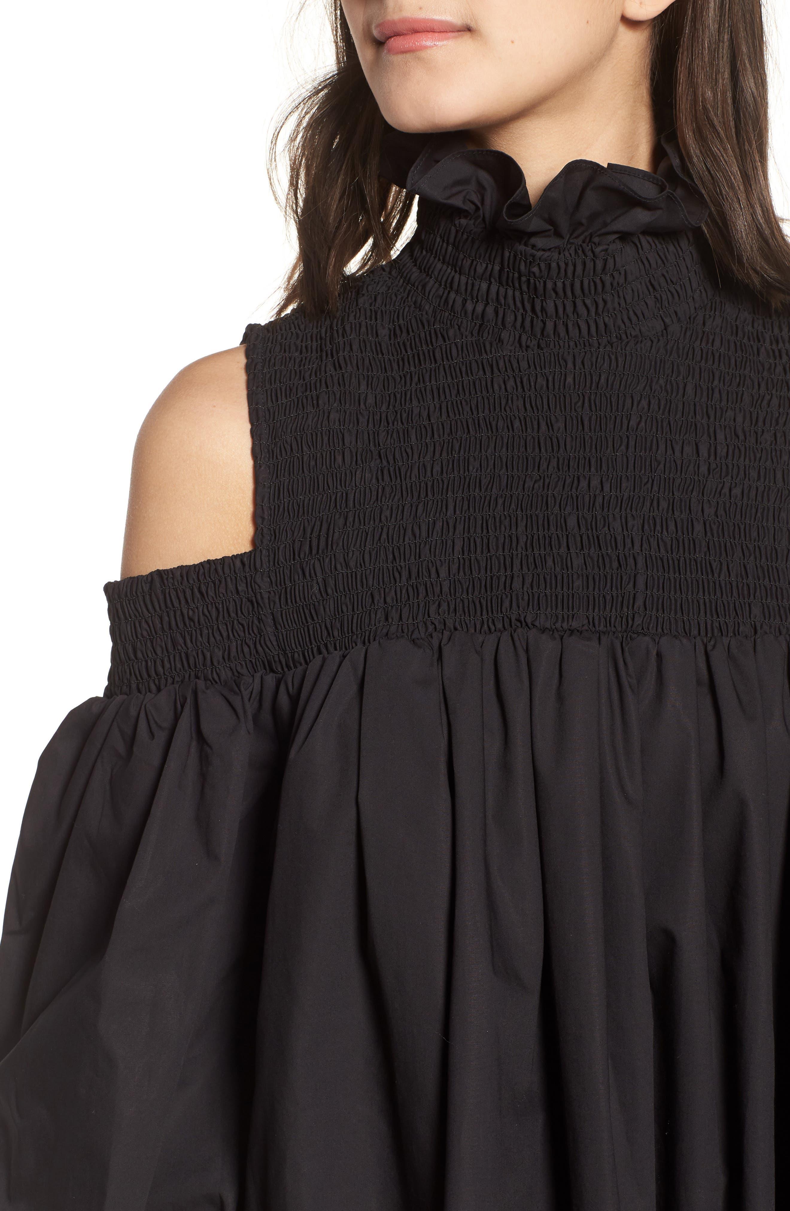 Ivy Cold Shoulder Dress,                             Alternate thumbnail 4, color,                             BLACK COTTON
