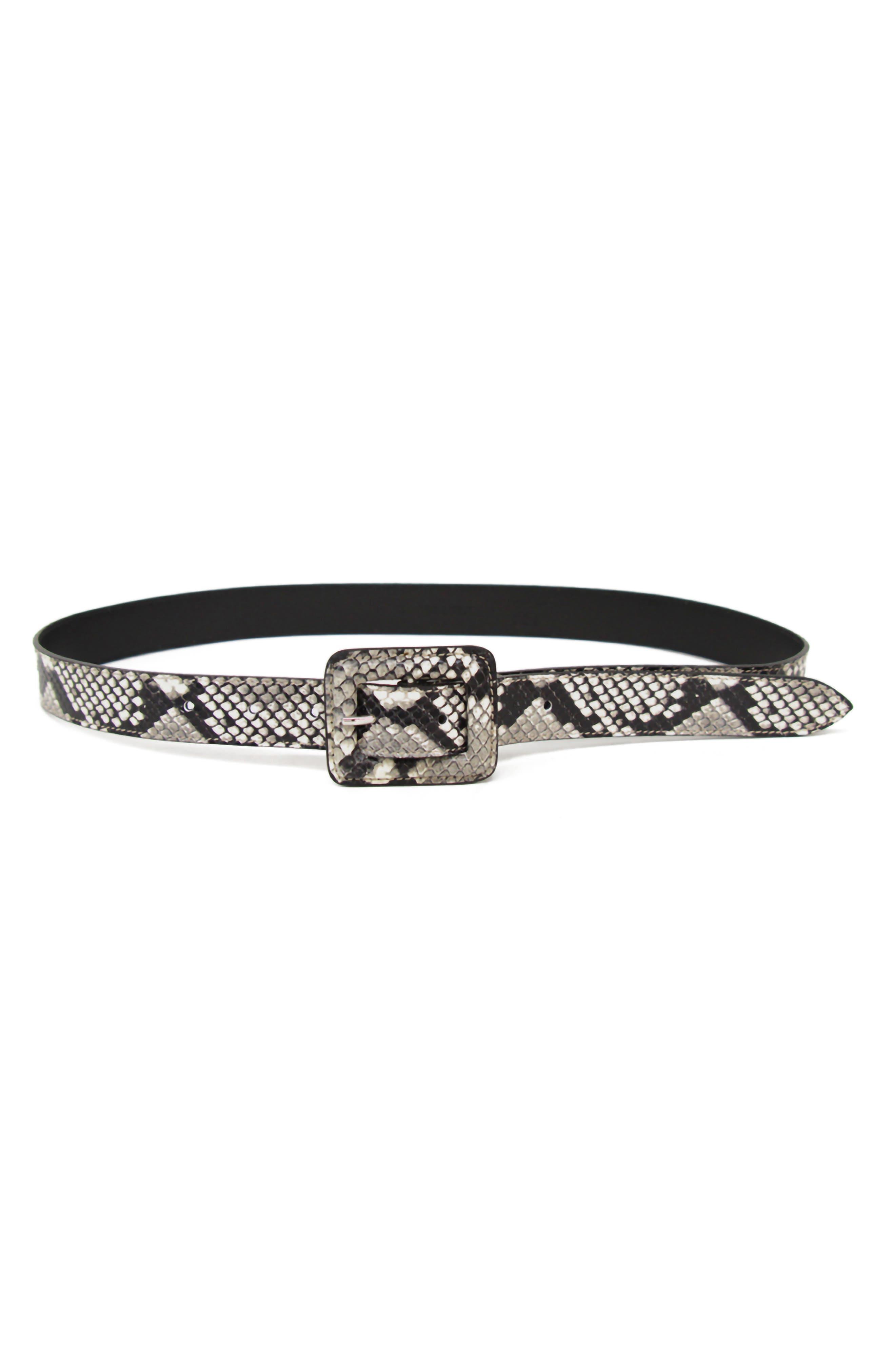 B-Low The Belt Mini Ana Python Embossed Belt, White