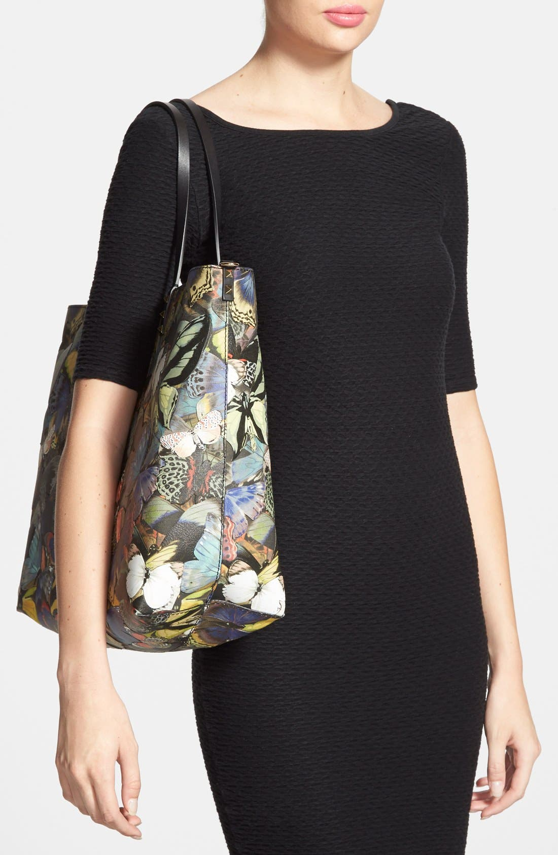 'Camu Butterfly' Leather Tote,                             Alternate thumbnail 4, color,                             300