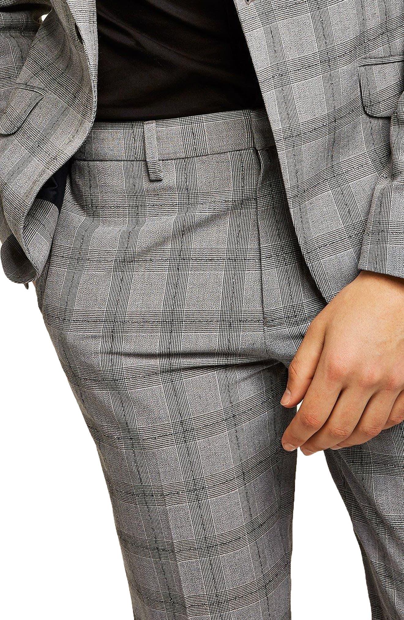 Check Suit Trousers,                             Alternate thumbnail 3, color,                             Grey/ Black