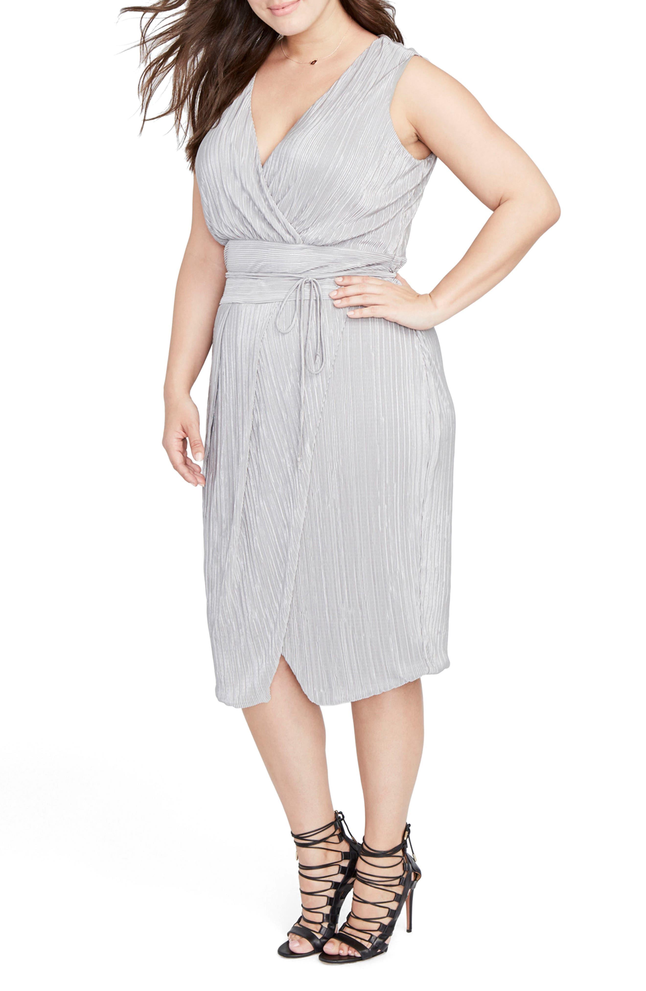 Foiled Faux Wrap Dress,                             Alternate thumbnail 5, color,