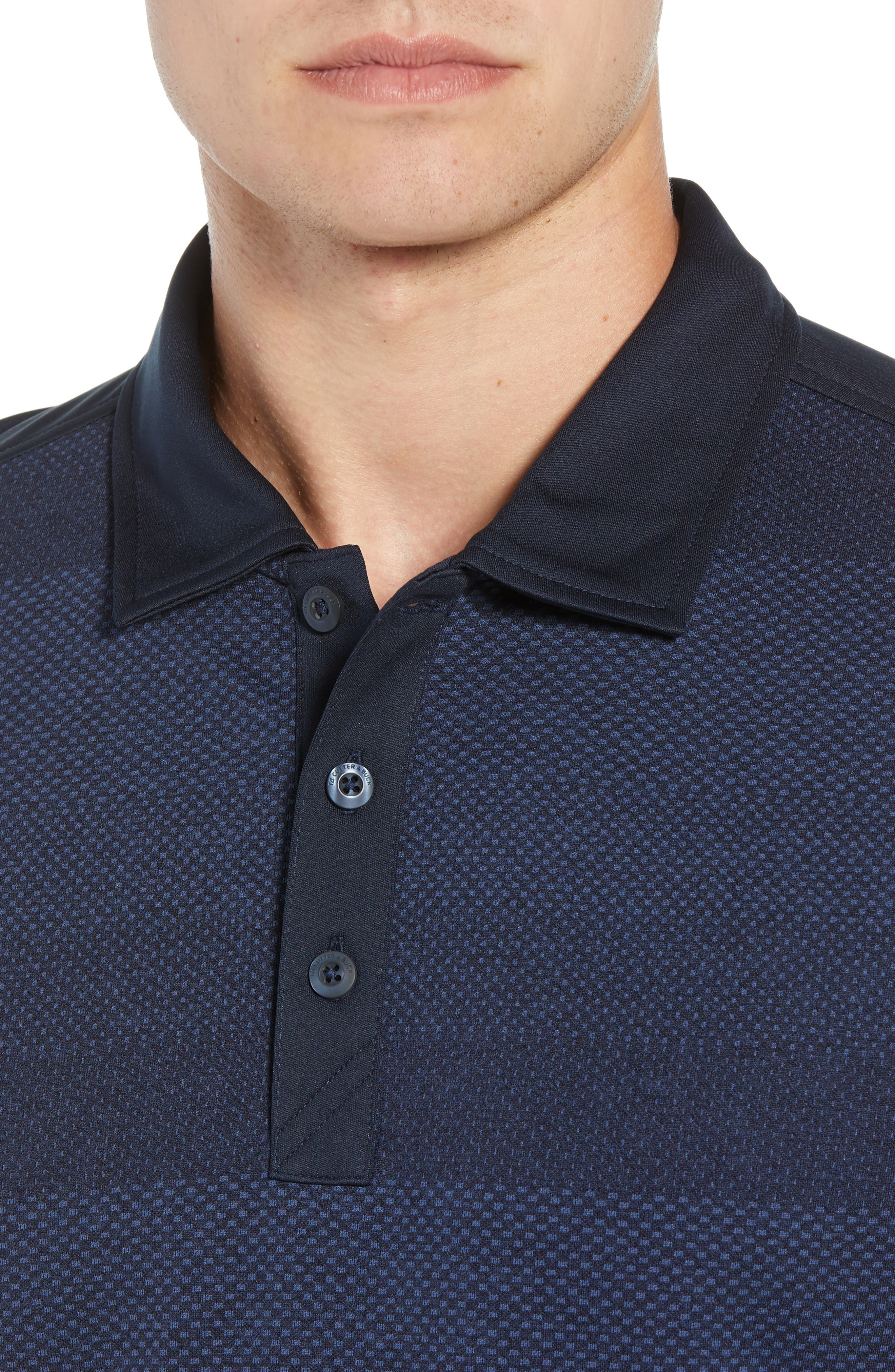 Crescent DryTec Microprint Polo,                             Alternate thumbnail 4, color,                             LIBERTY NAVY