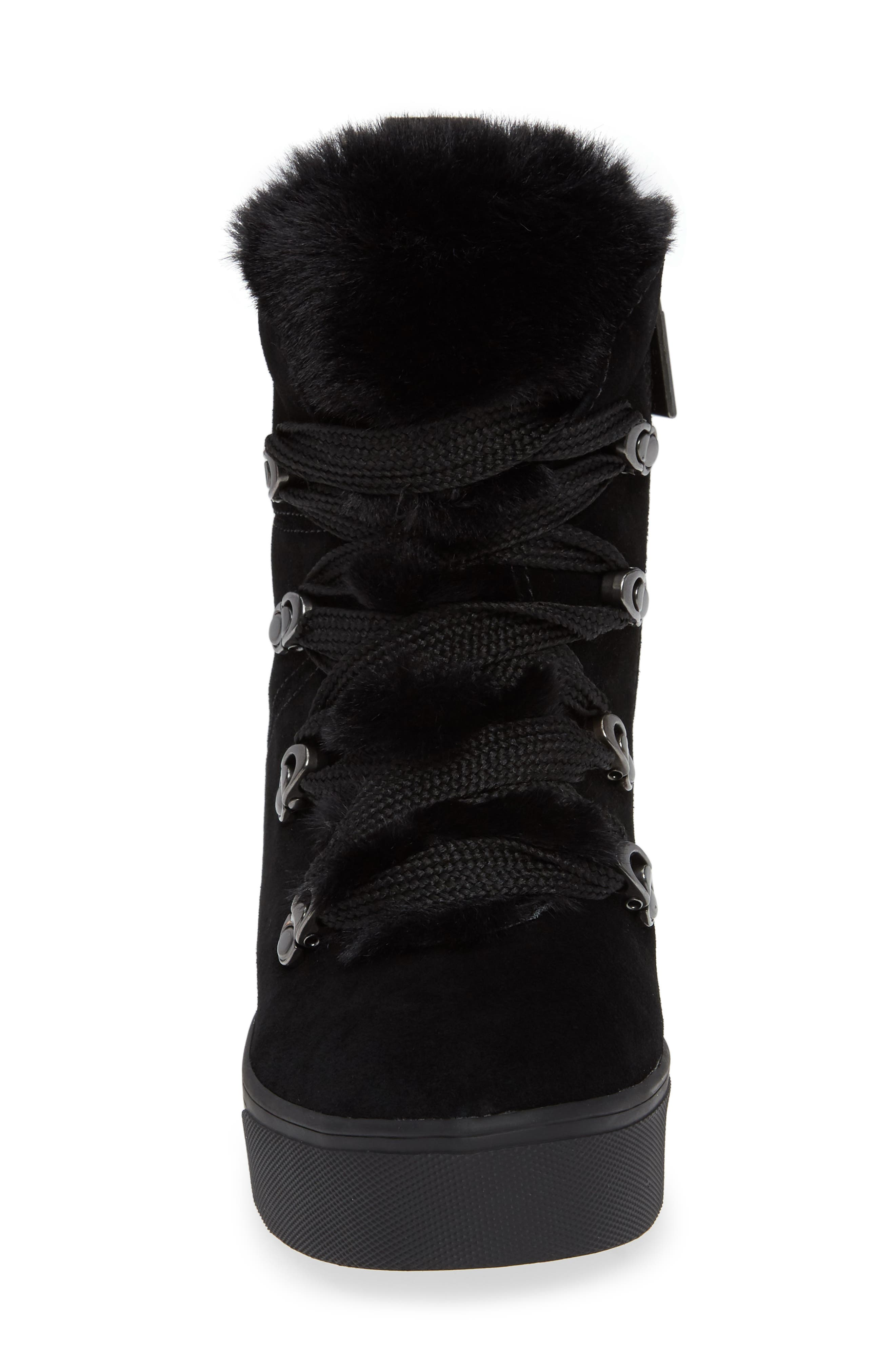 Whitney Faux Fur Trim High Top Sneaker,                             Alternate thumbnail 4, color,                             BLACK SUEDE