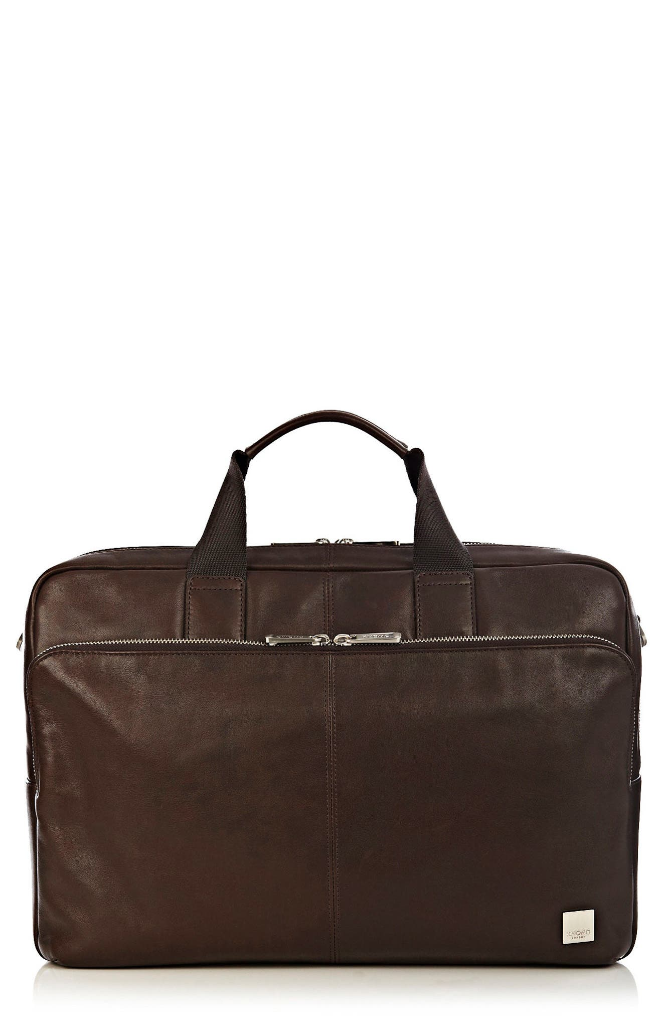 Brompton Amesbury Leather Briefcase,                             Main thumbnail 1, color,                             BROWN